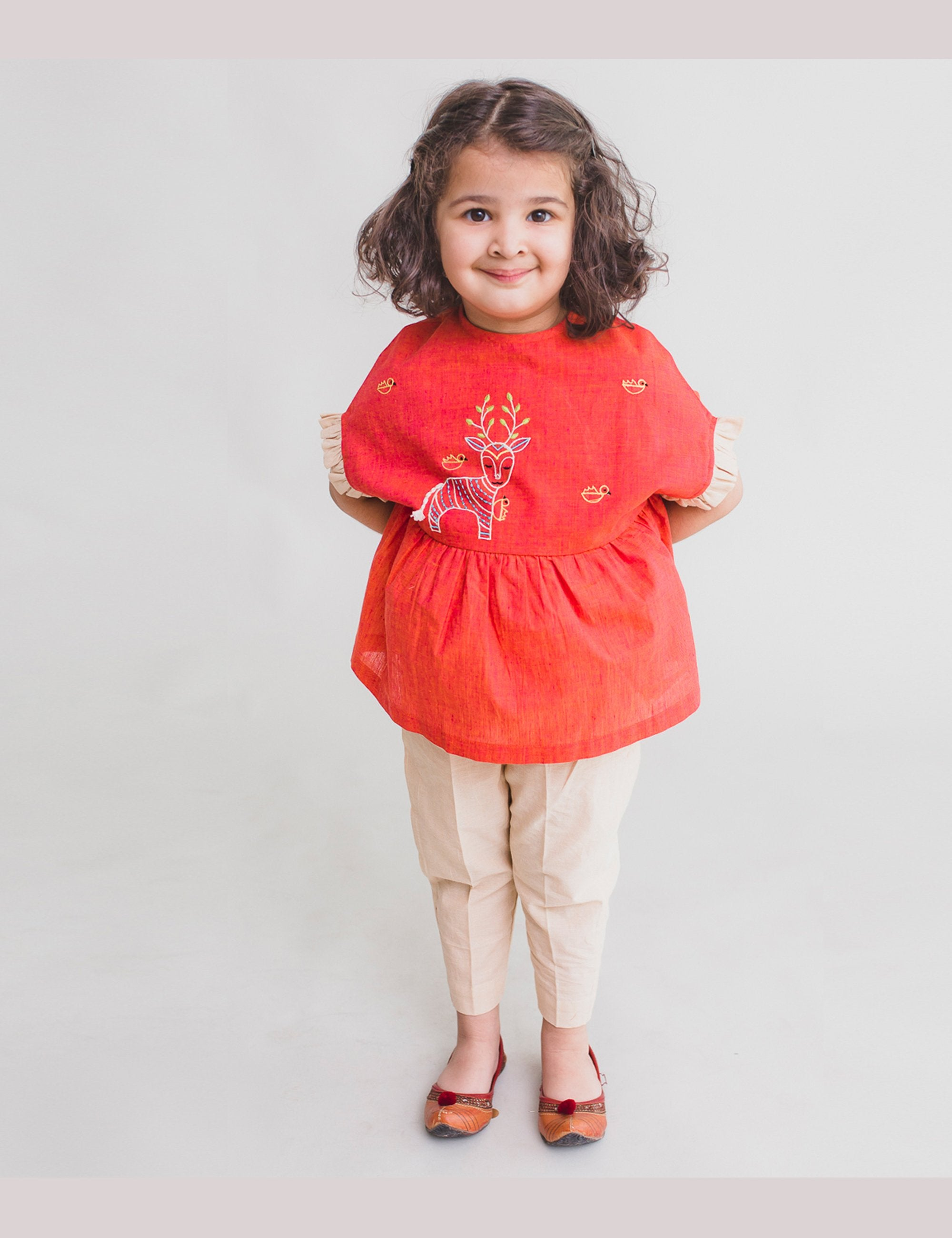 Girl Top Set Gond Peach Deer