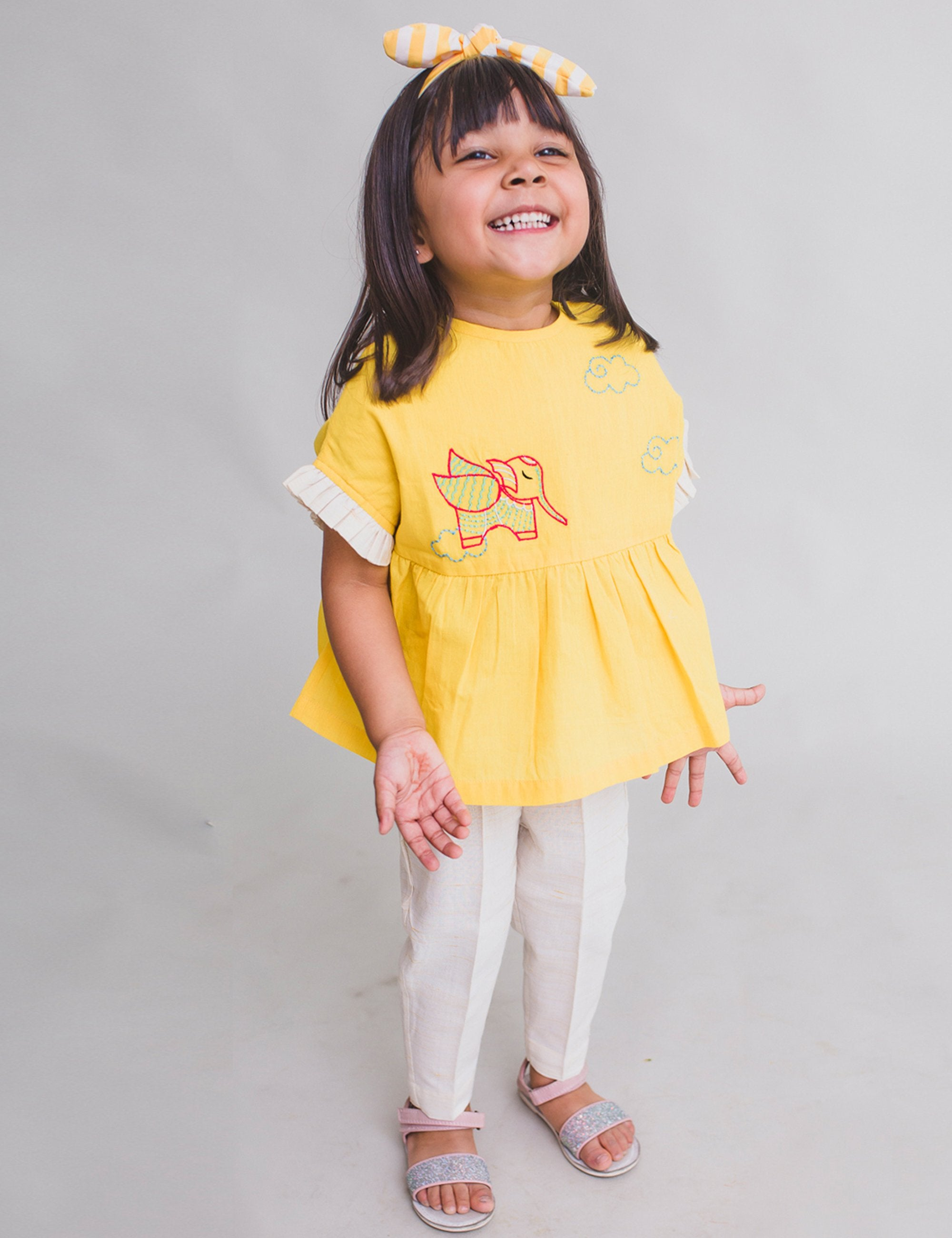 Girl Top Set Gond Yellow Elephant