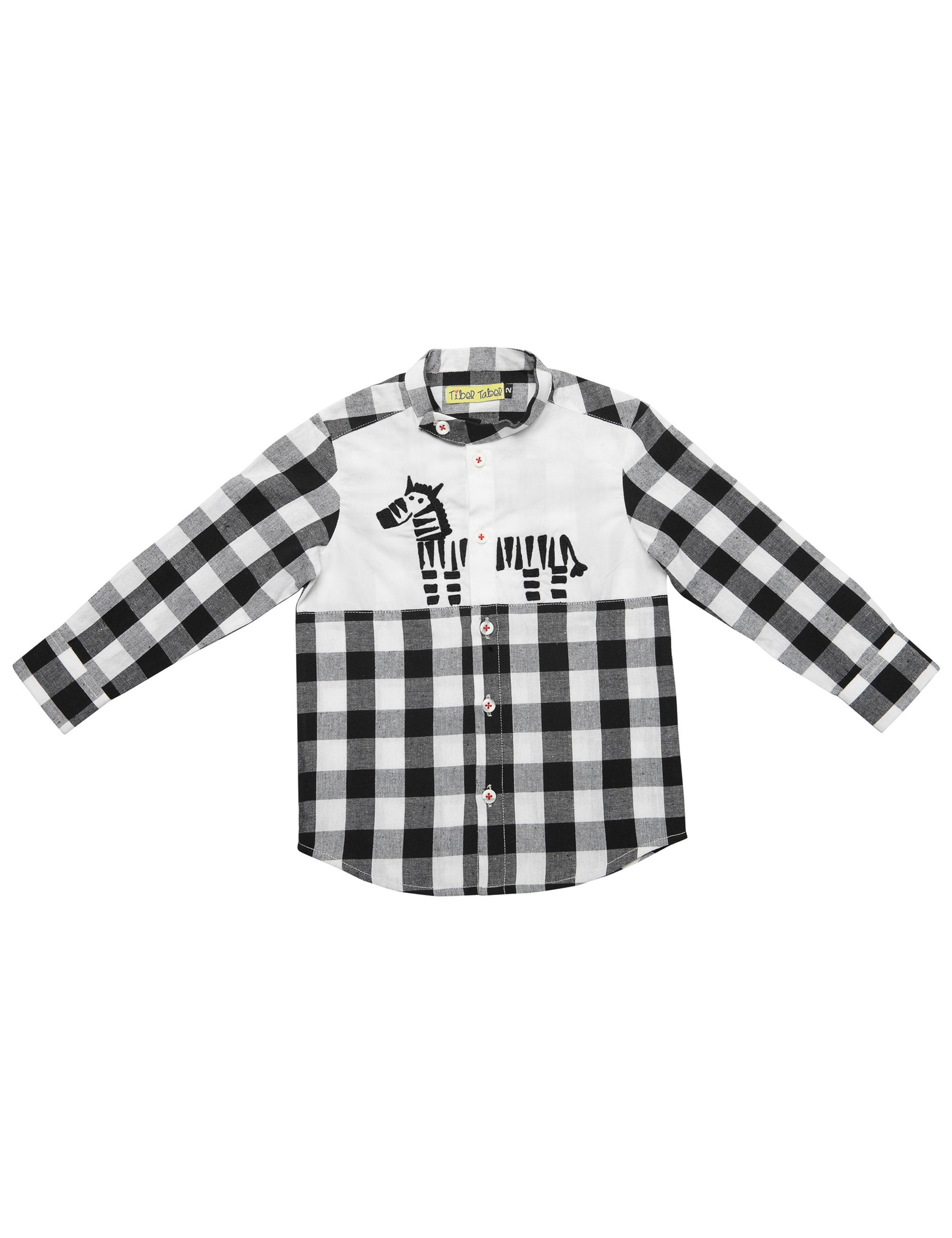 Checks Shirt in Black & White Colour for Boys