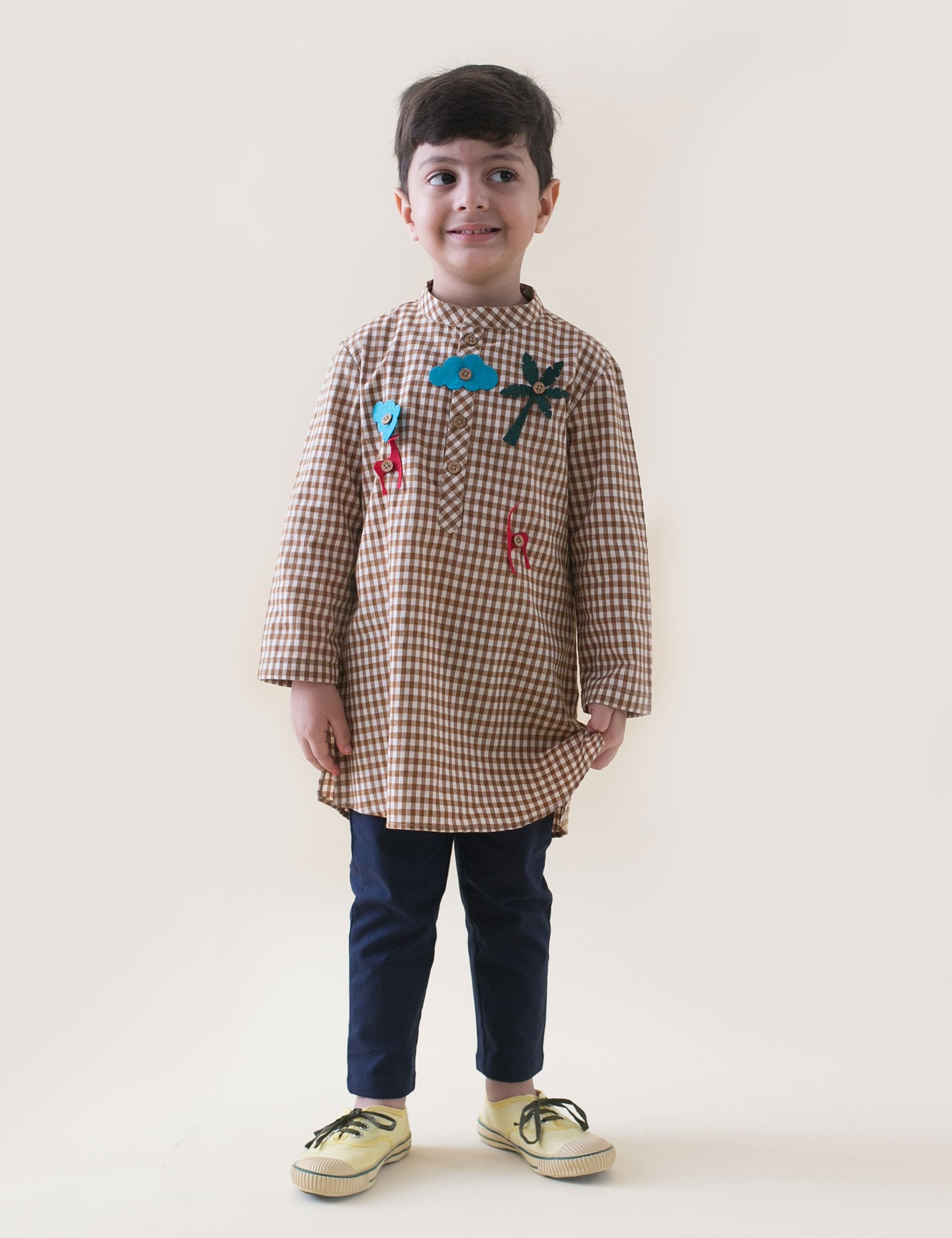 Checks Kurta with Detachable Toys in Brown Colour for Boys