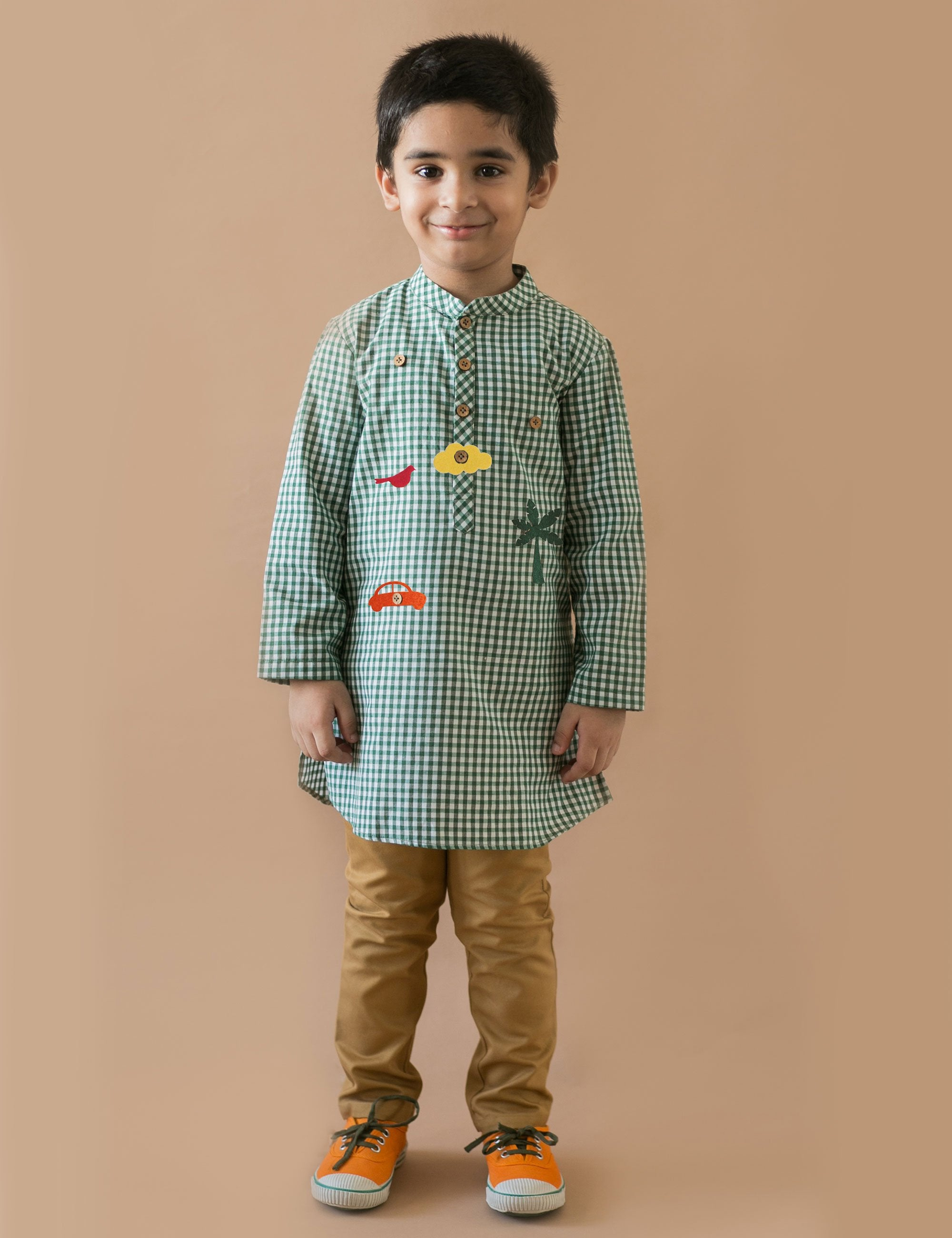 Checks Kurta with Detachable Toys in Green Colour for Boys