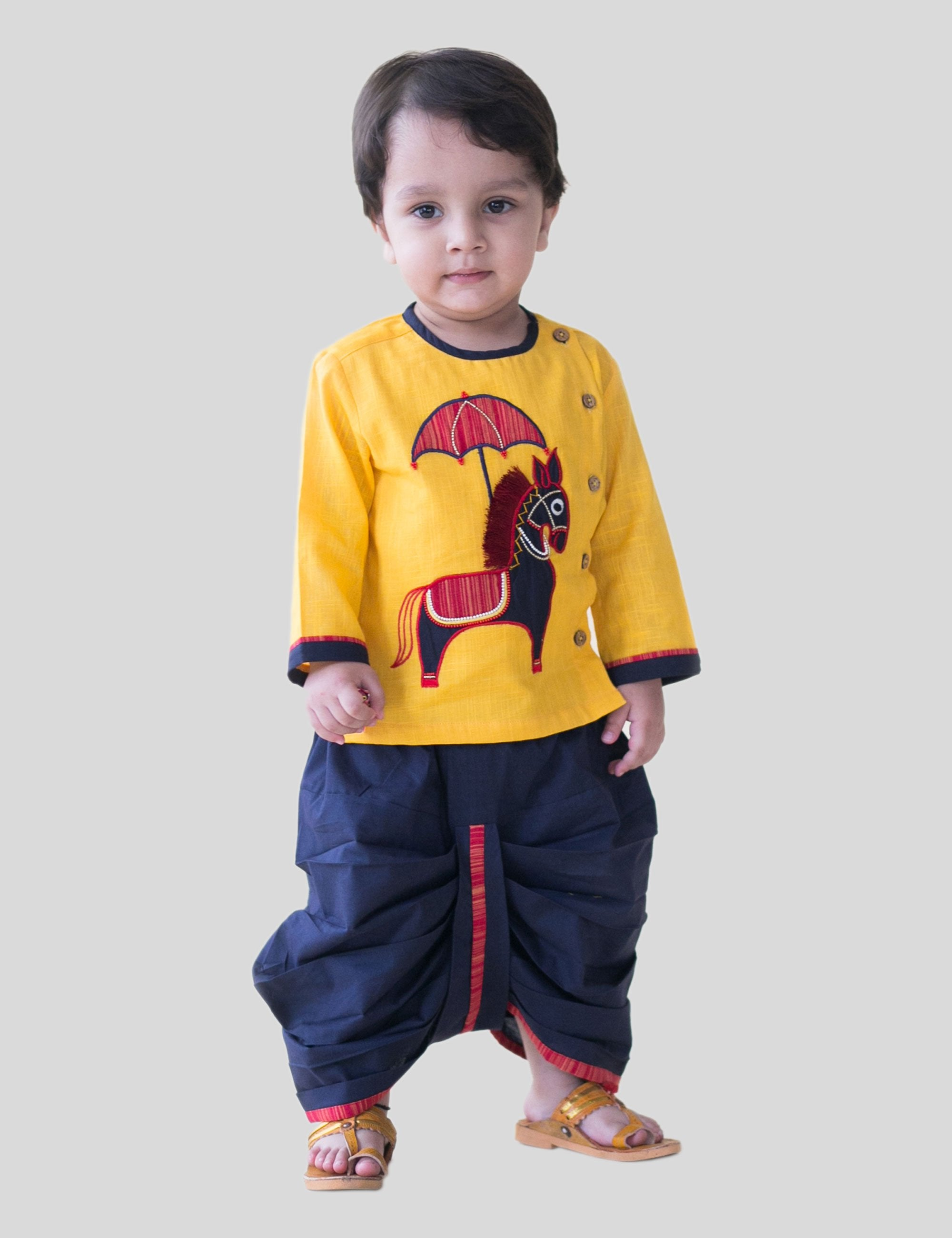 2830405f1 Buy Dhoti Kurta Set in Yellow   Blue Colour for Boys at best Price ...