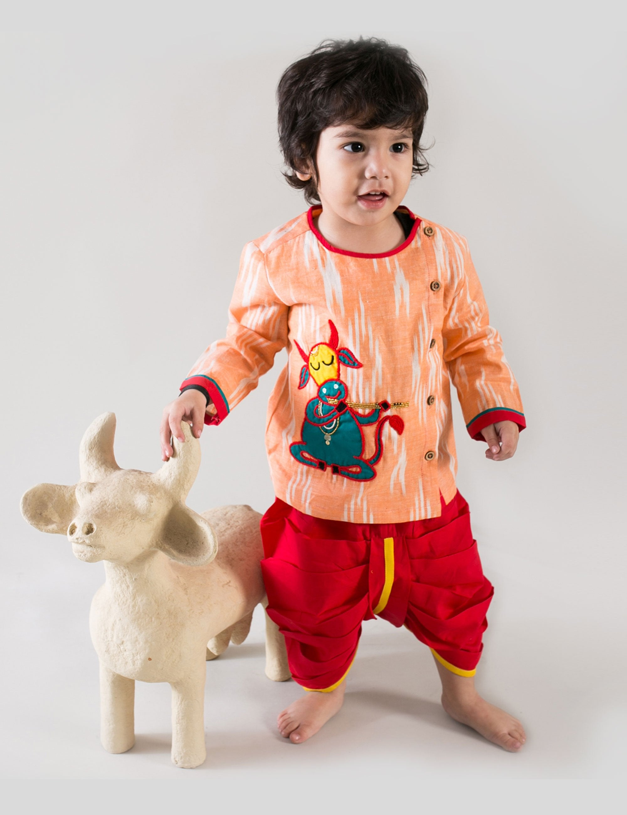 Holy Cow Kurta Dhoti in Red and Orange Colour for Boys