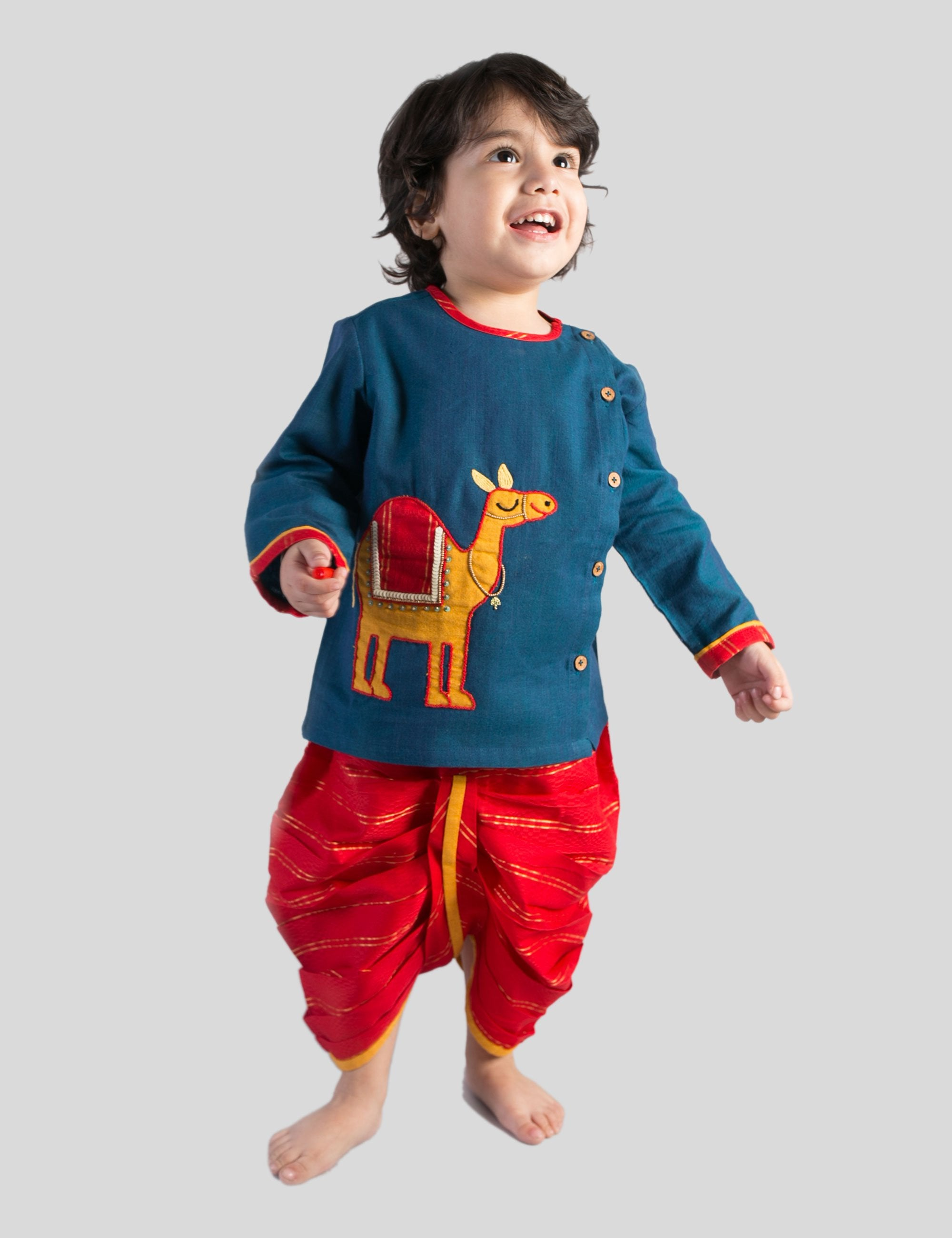 Dhoti Kurta Set in Red and Blue Colour for Boys