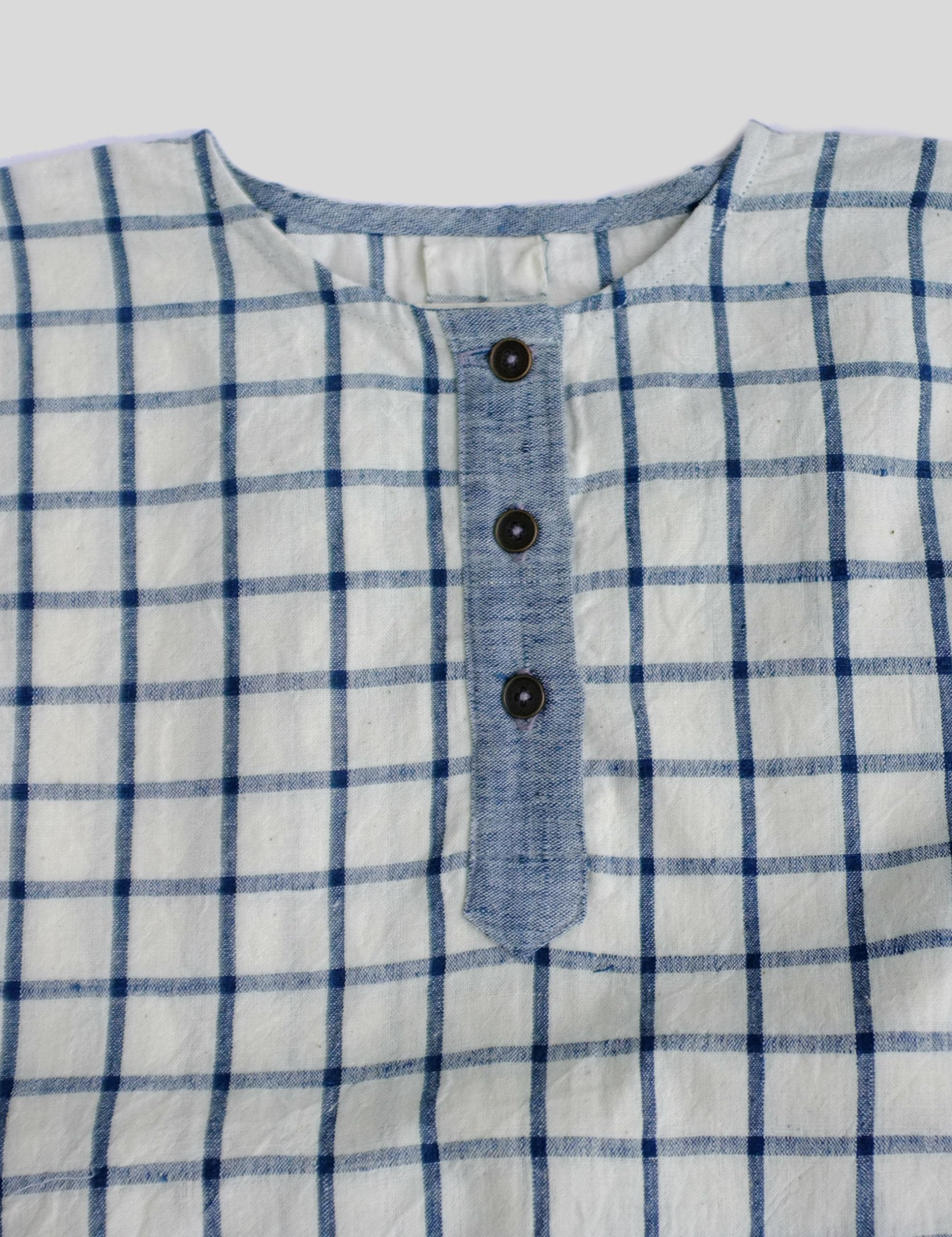 Loose Fit with Placket and Contrast Pocket Shirt in Checks for Boys