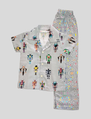 Transformers-Robots Print Cotton Nightwear in Multi-Colour for Boys (Full Sleeves)