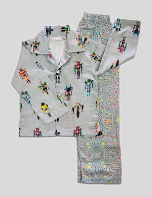 Transformers-Robots Print Cotton Nightwear in Multi-Colour for Boys (Half Sleeves)