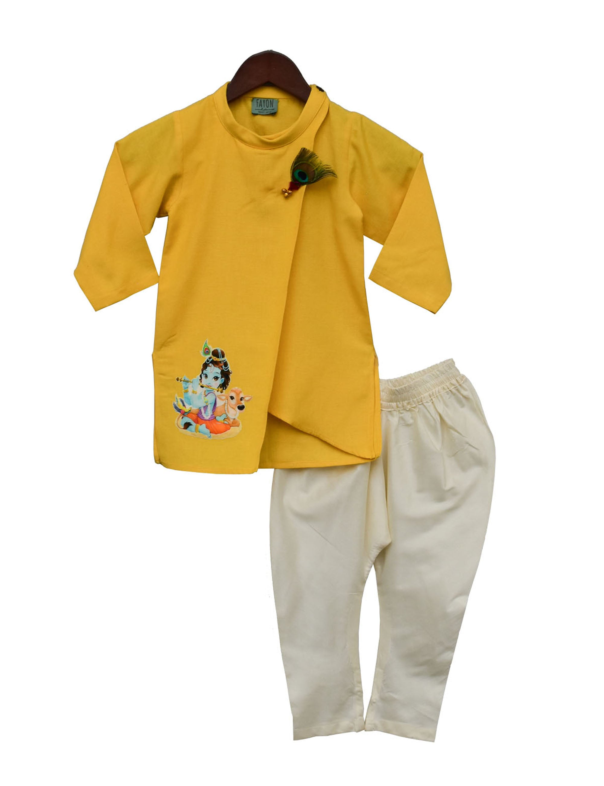Yellow Kurta With Off White Pant