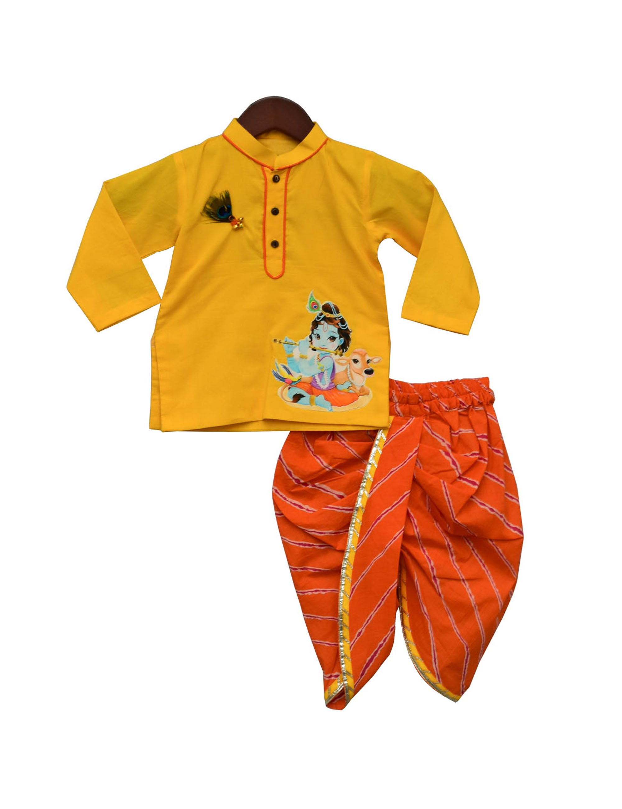 Yellow Kurta With Orange Dhoti