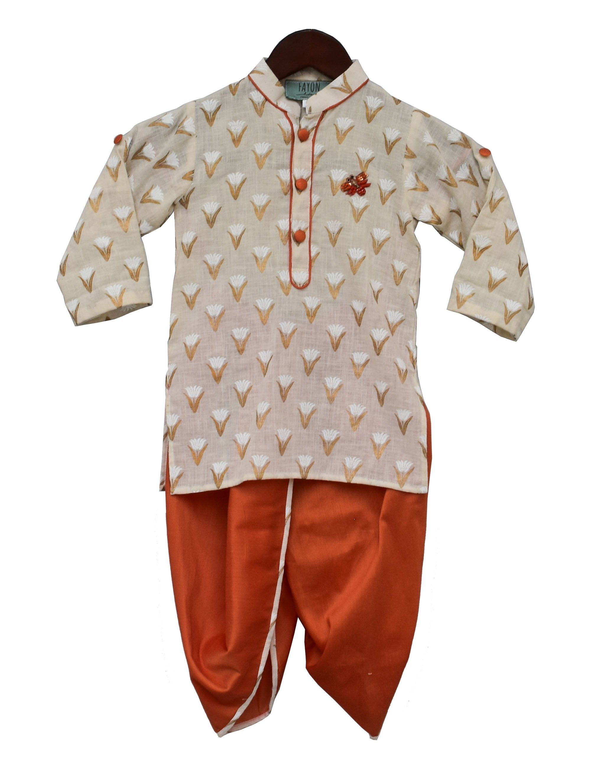 Printed Kurta with Orange Dhoti