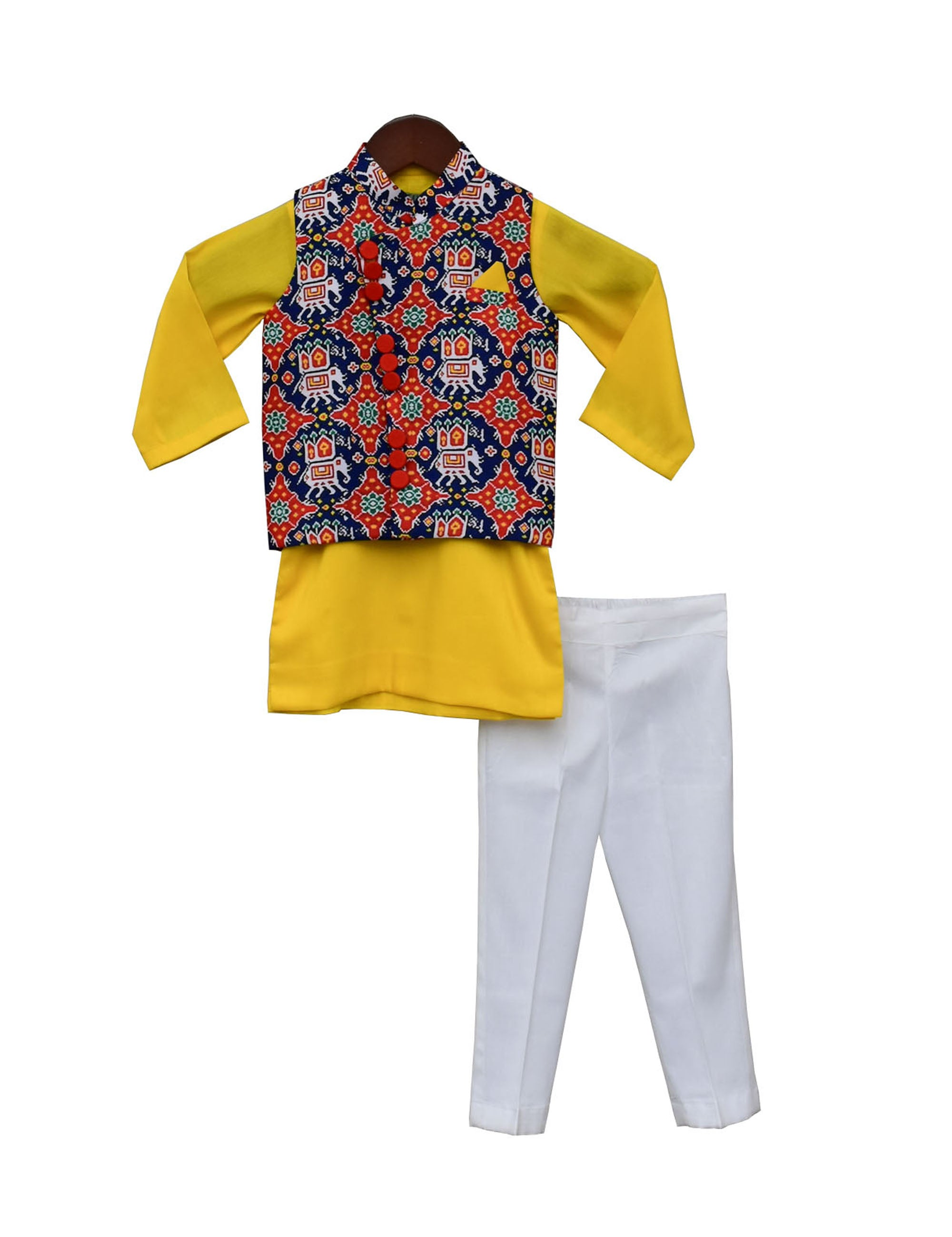 Blue, Yellow Kurta & Offwhite Pant