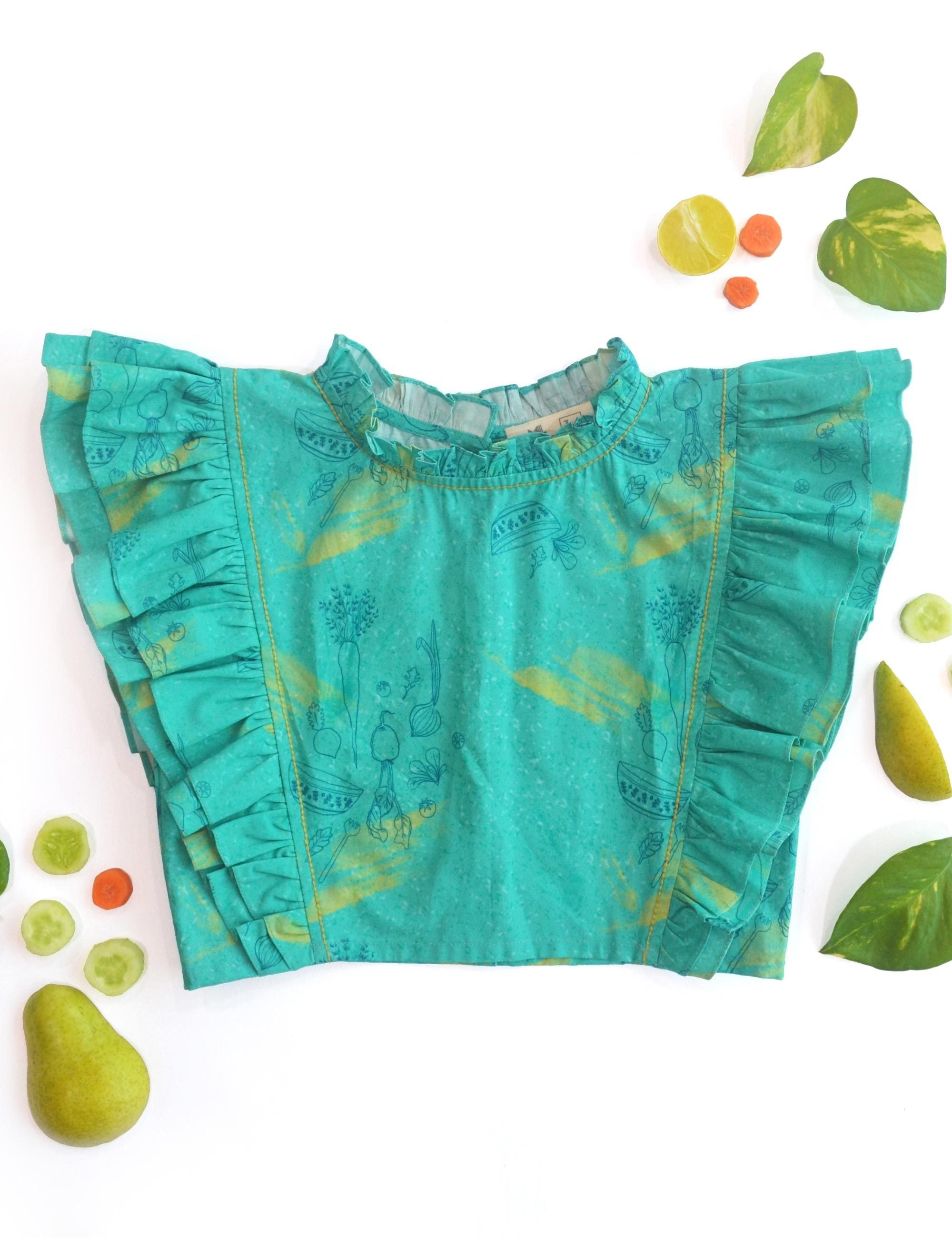Teal Salad Frill Blouse