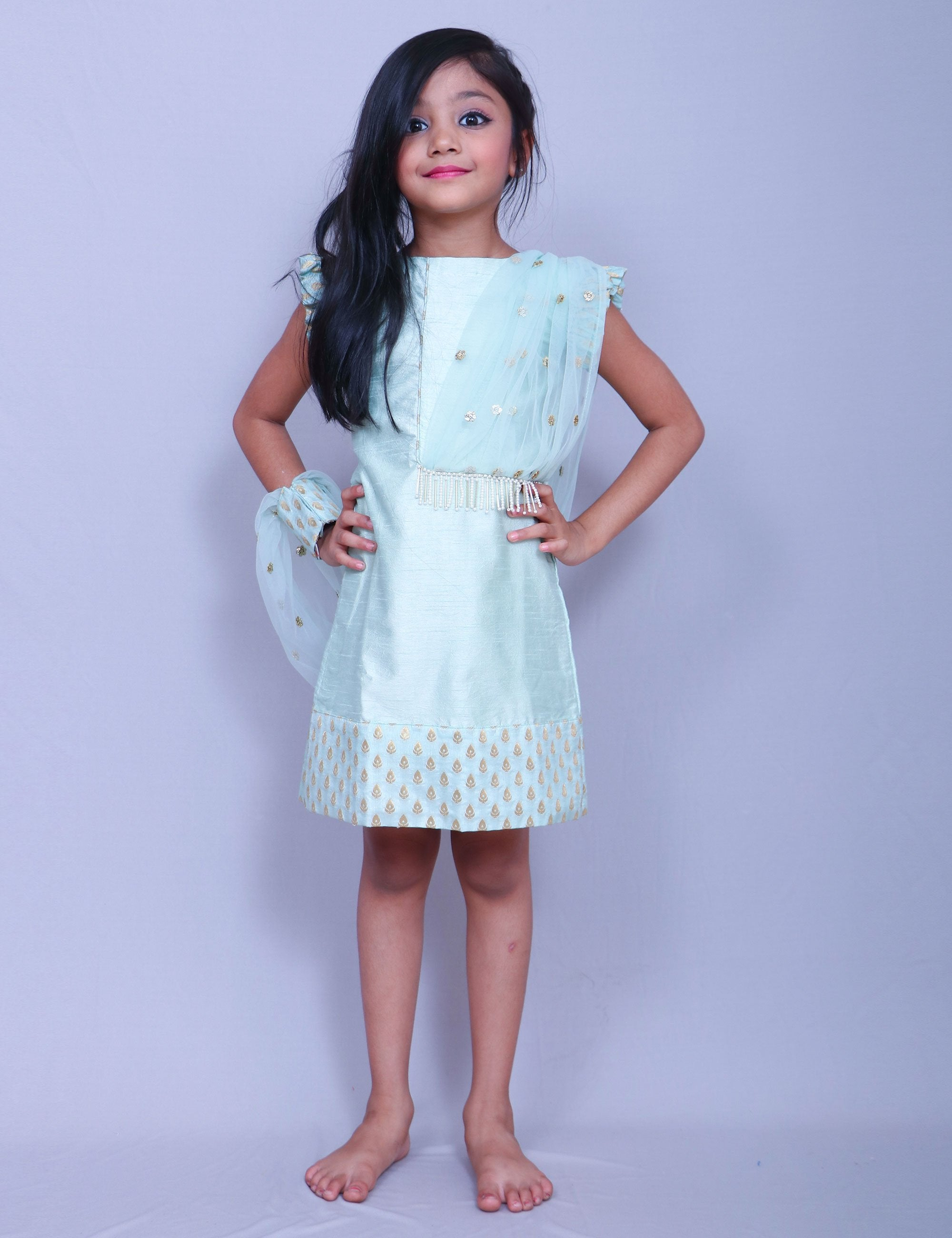 Aqua Green Elegant Kurti for Girls