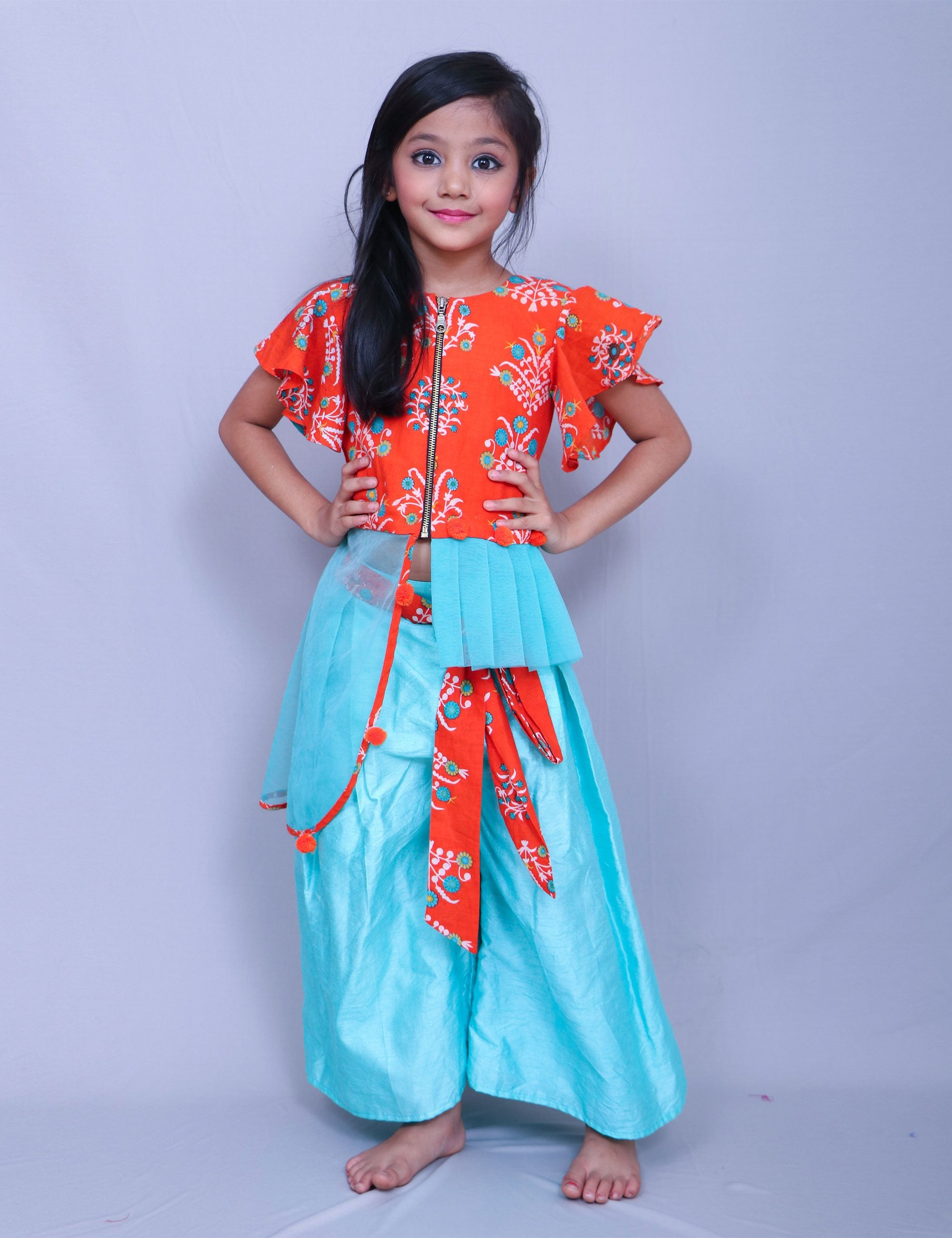 Orange Top with Flowery Print for Girls