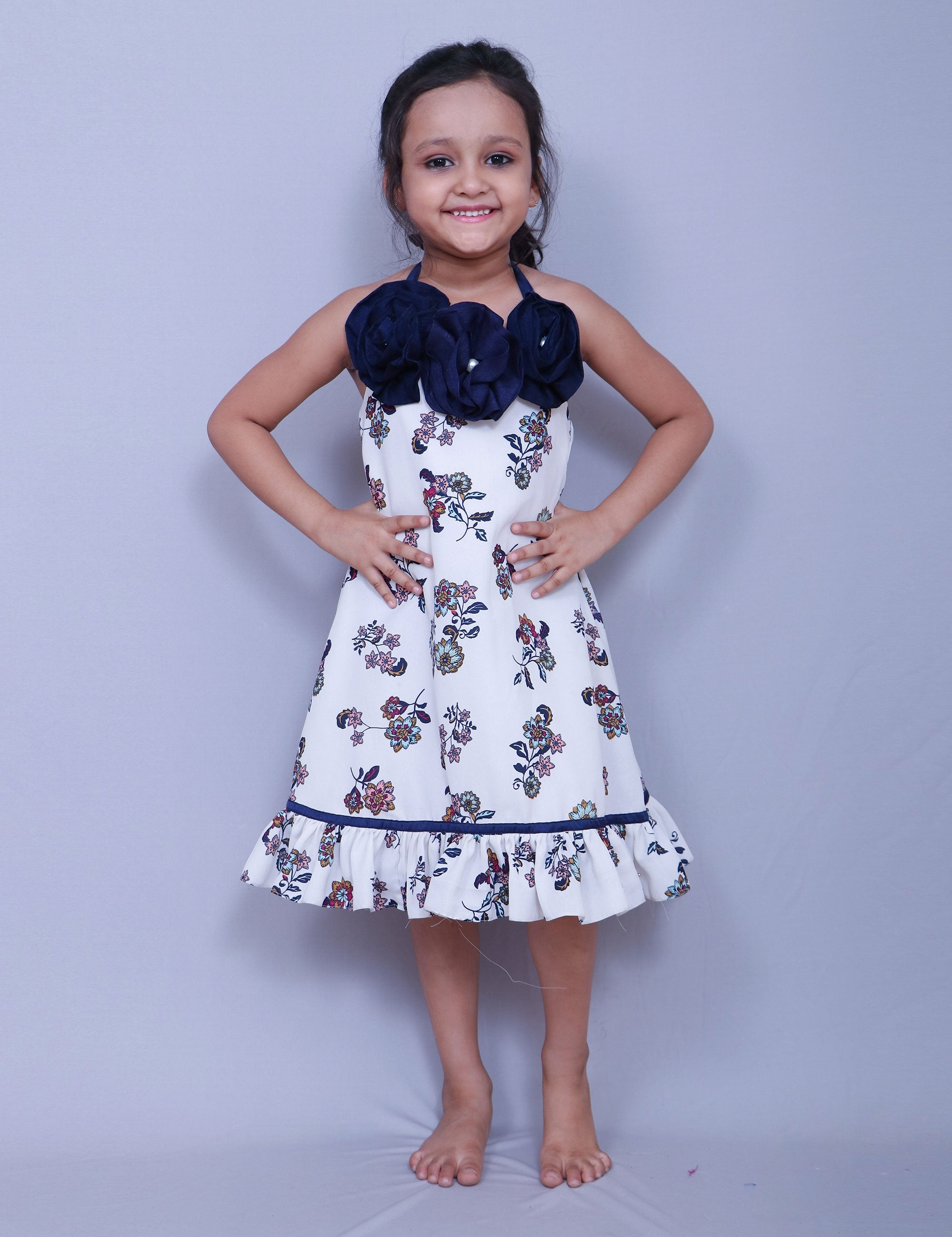 White Dress Lined with Soft Cotton for Girls