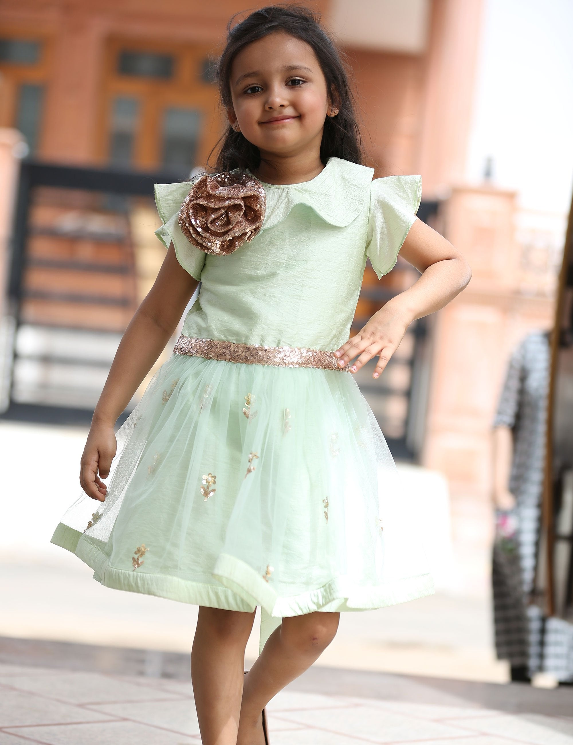 Aqua Green Dress with Sequence Design for Girls