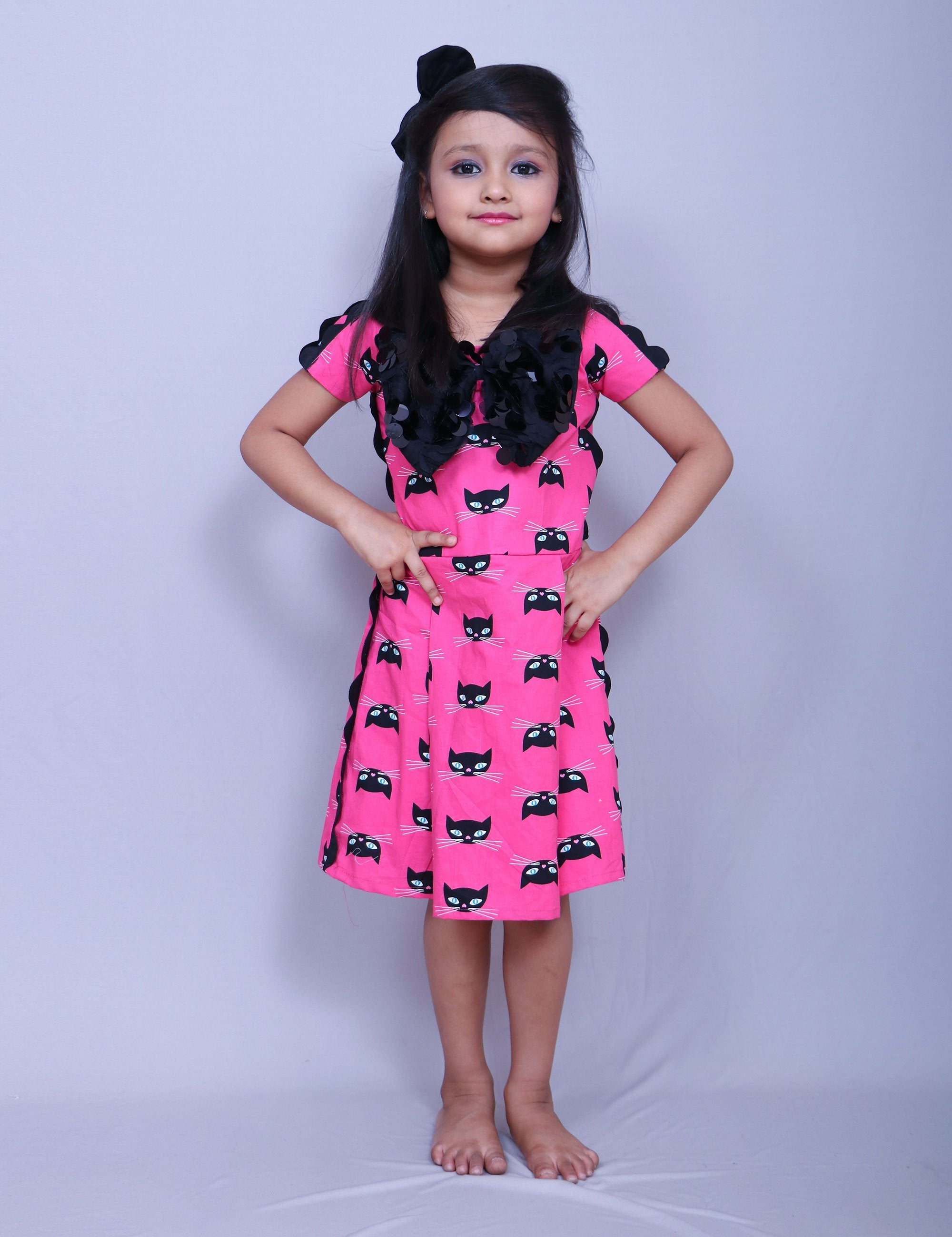 Cat Print Pink Frock for Girls