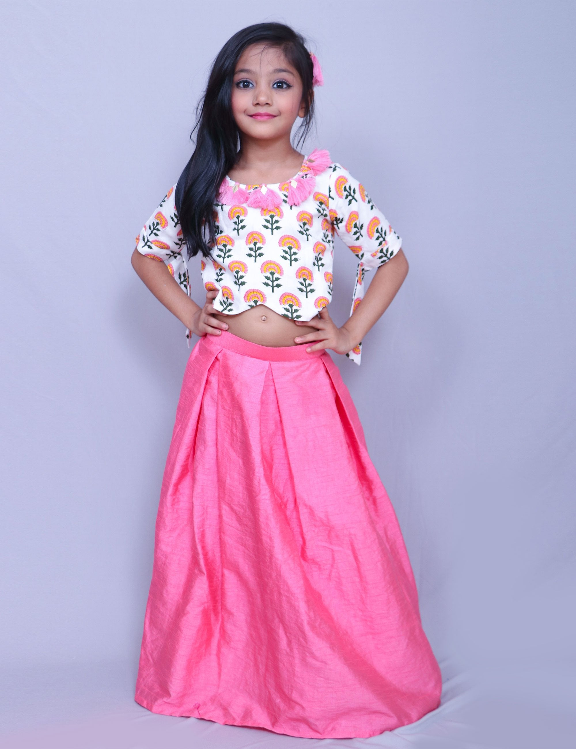 Floral Print Crop Top with Skirt for Girls
