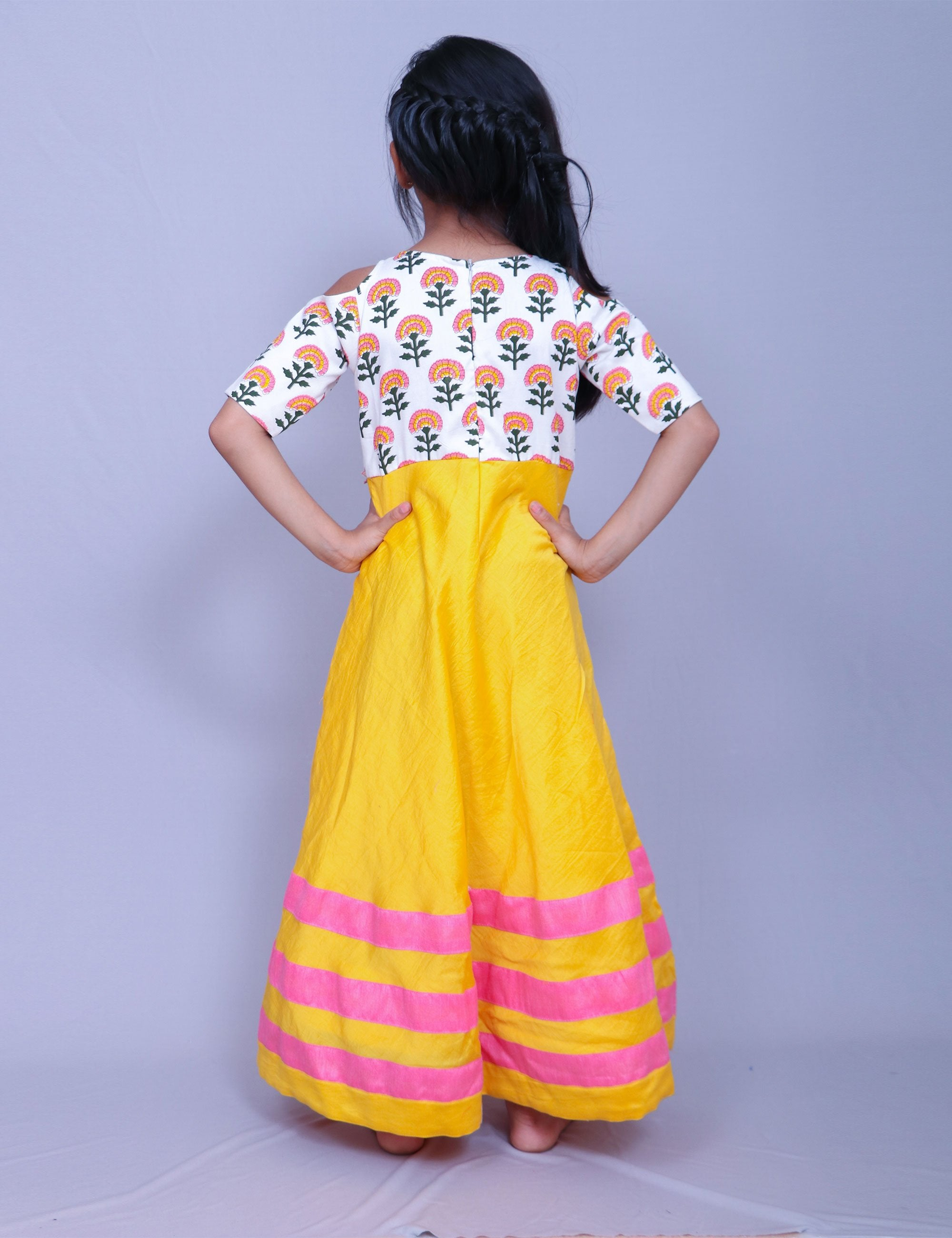 Printed Yolk with Tassels On Waist for Girls