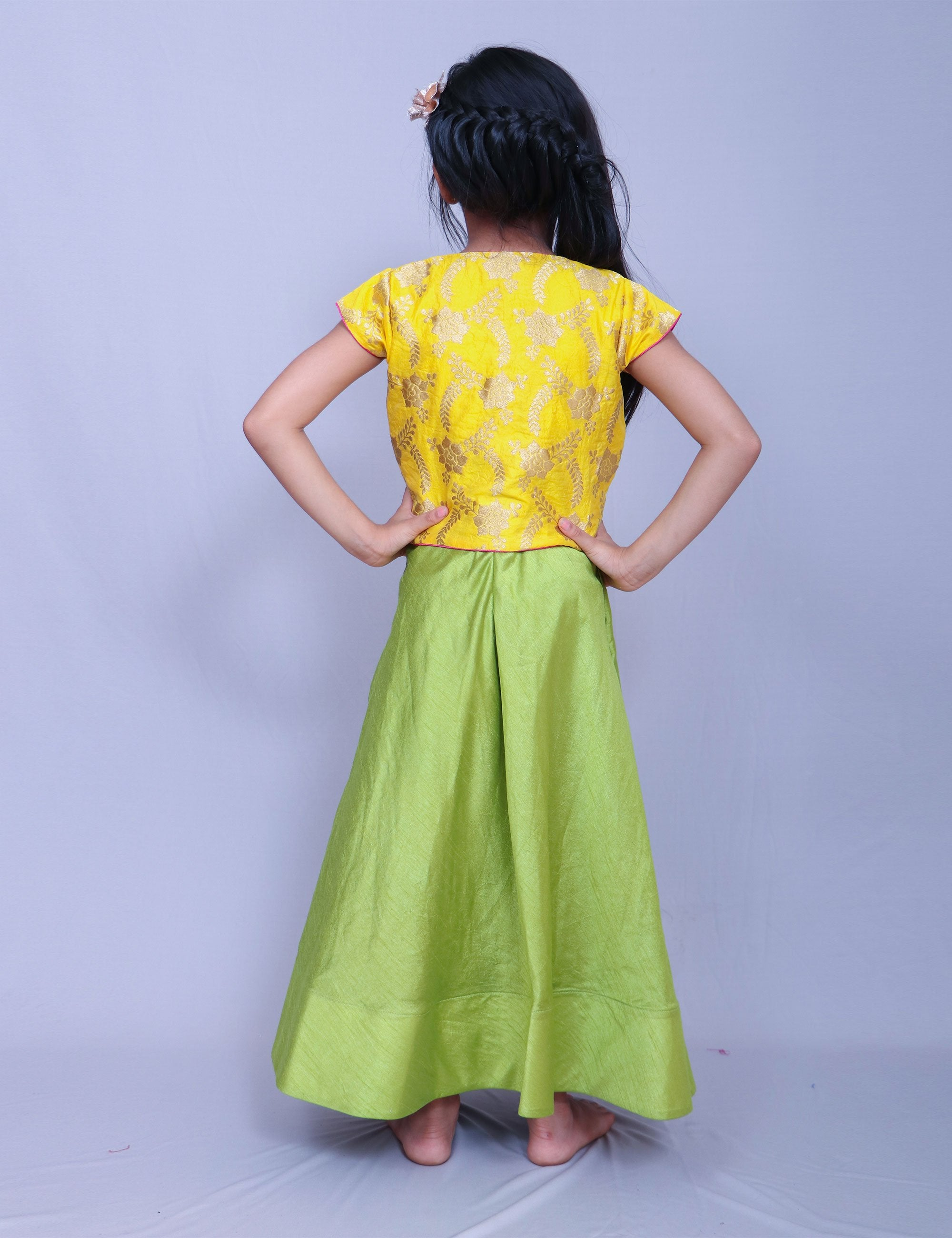 Full Length Green Gown for Girls