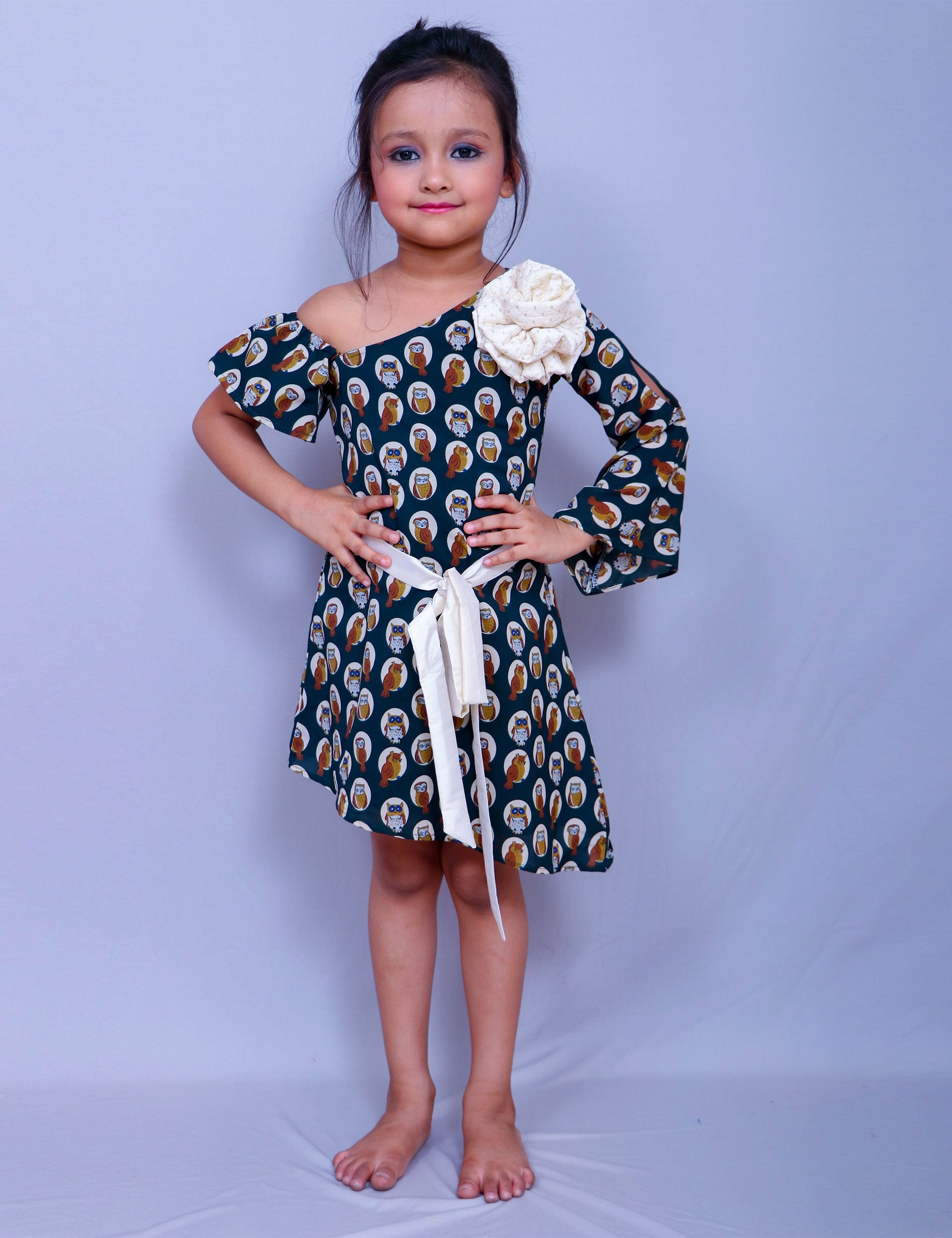 Owl Print One Shoulder Frock for Girls