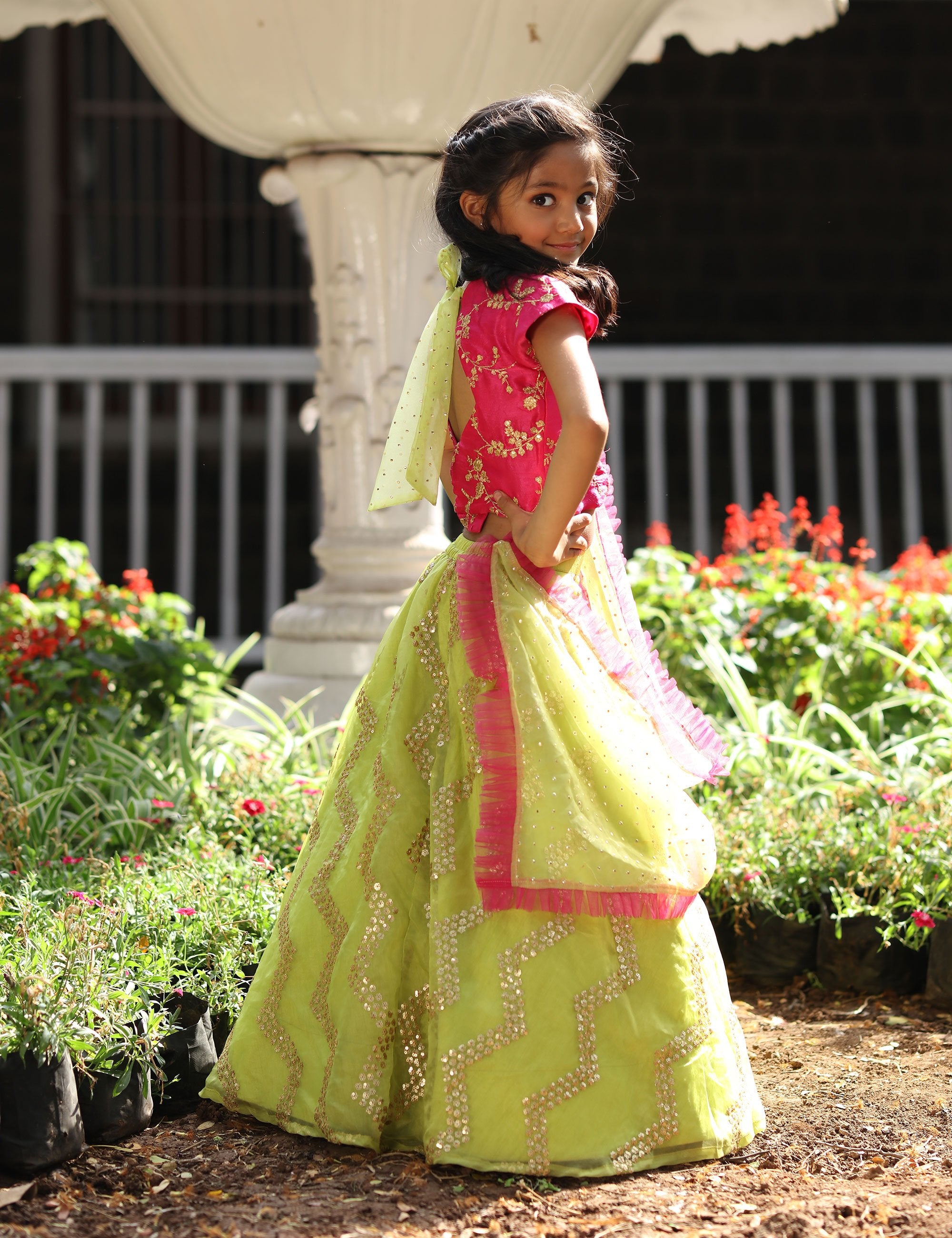 Stylish Pink Crop Top with  Lehenga for Girls