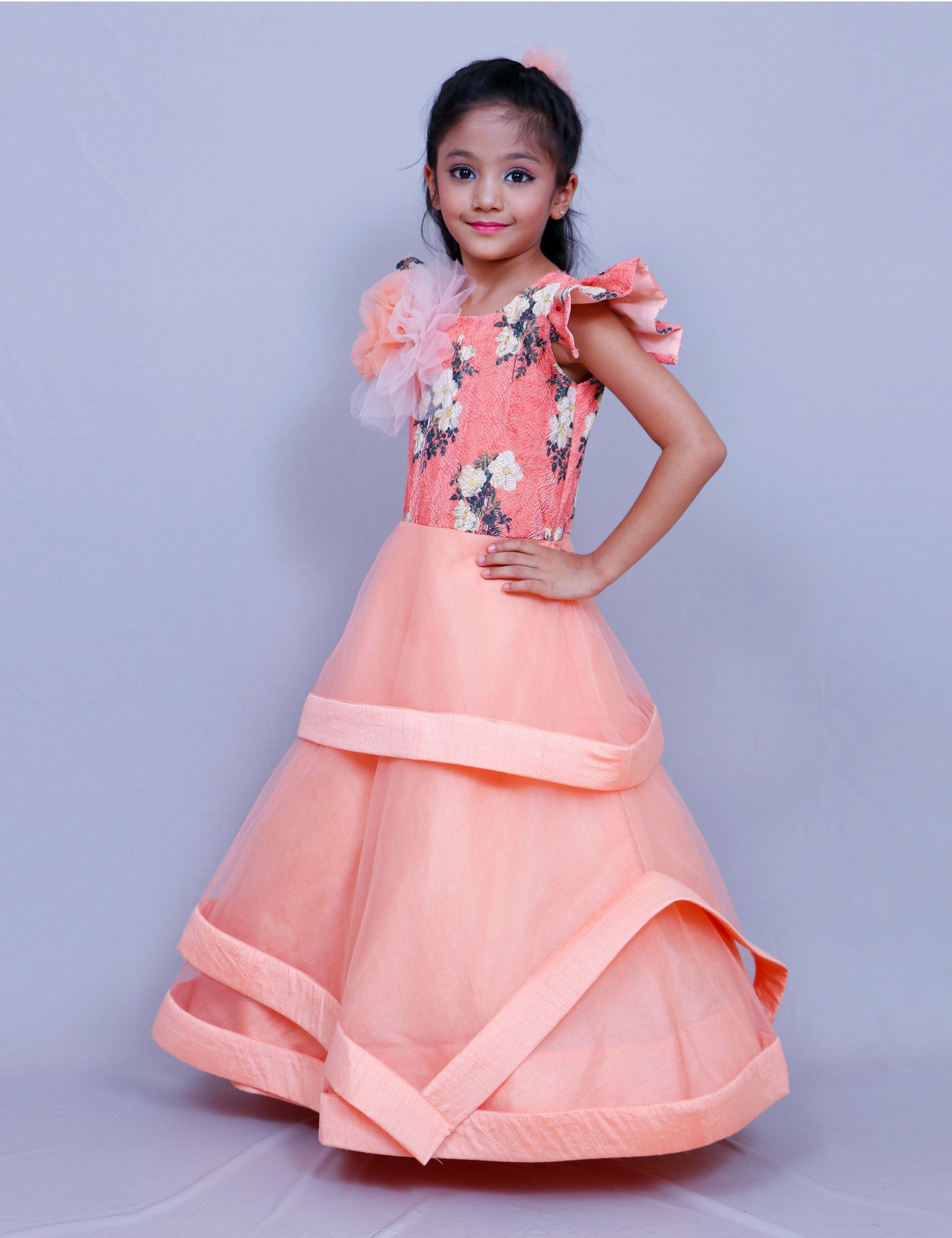 3 Layered Net Gown for Girls