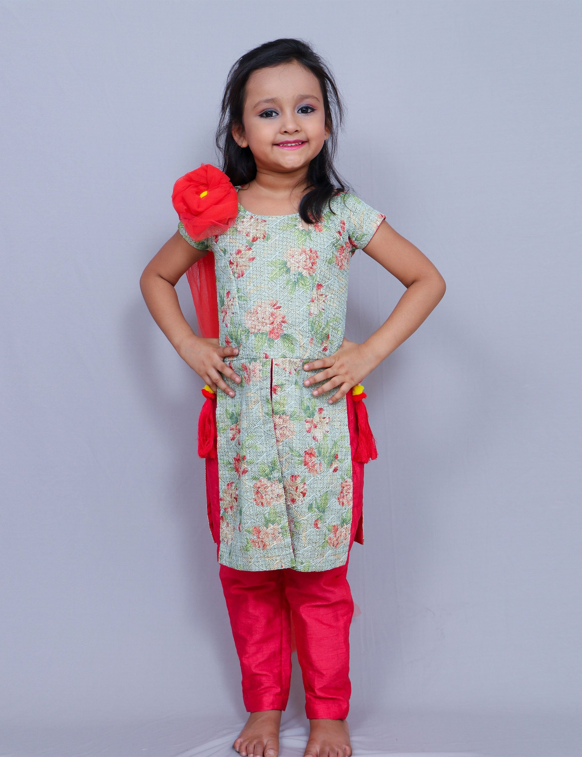 Green Kurta Churidar Set for Girls