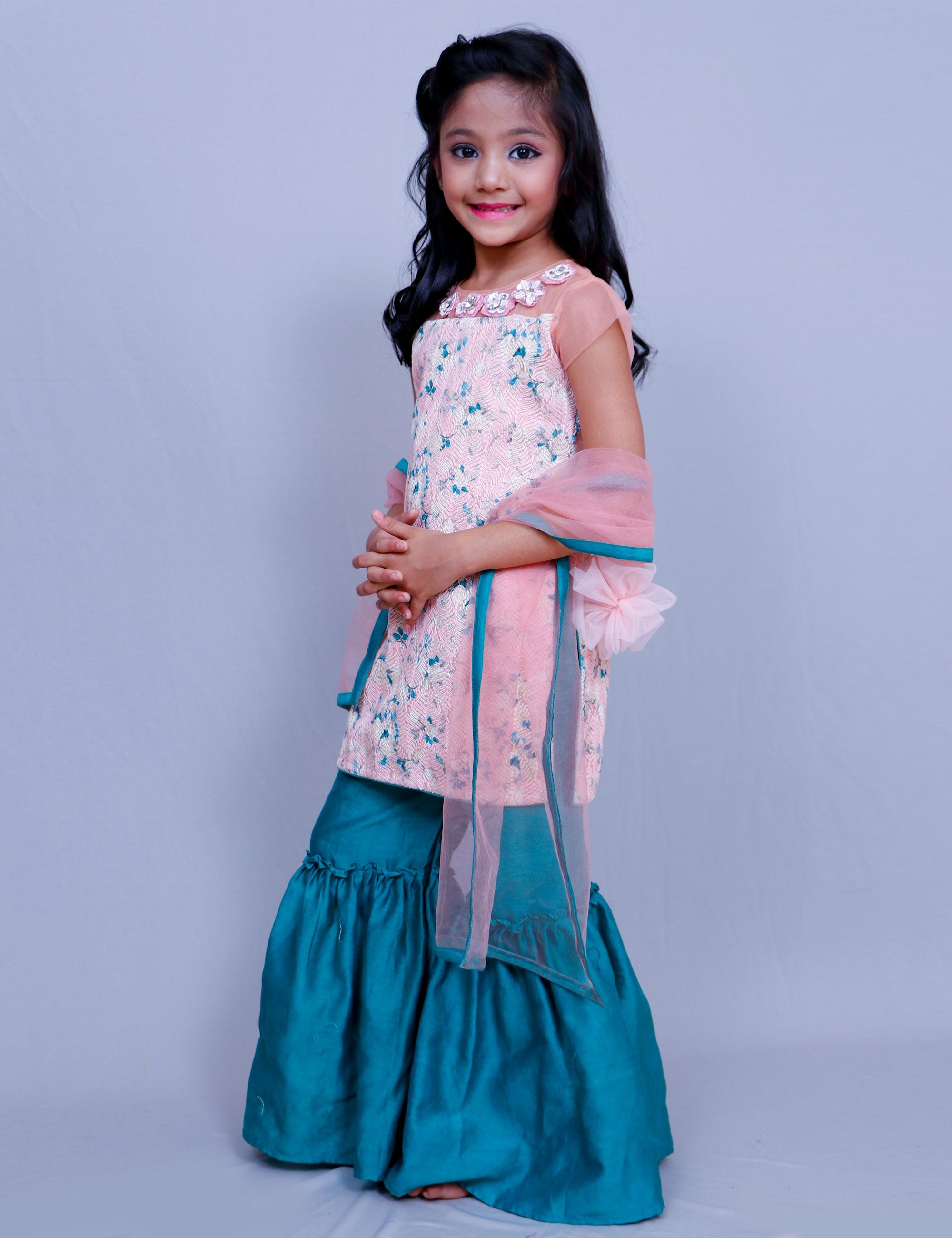 Embroidered Fabric Kurta with Flower for Girls