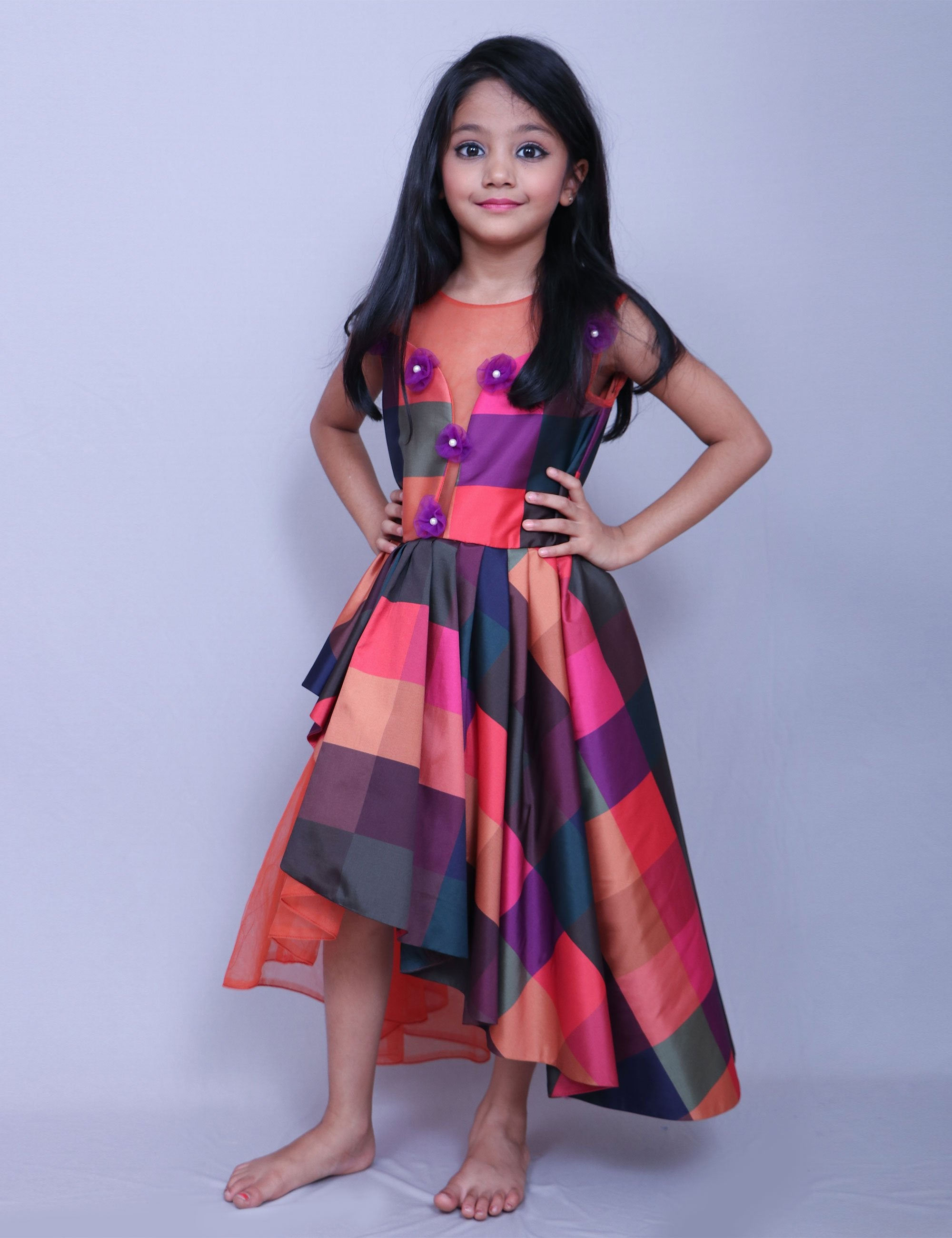 Checks Fabric Gown with One Side Fall for Girls