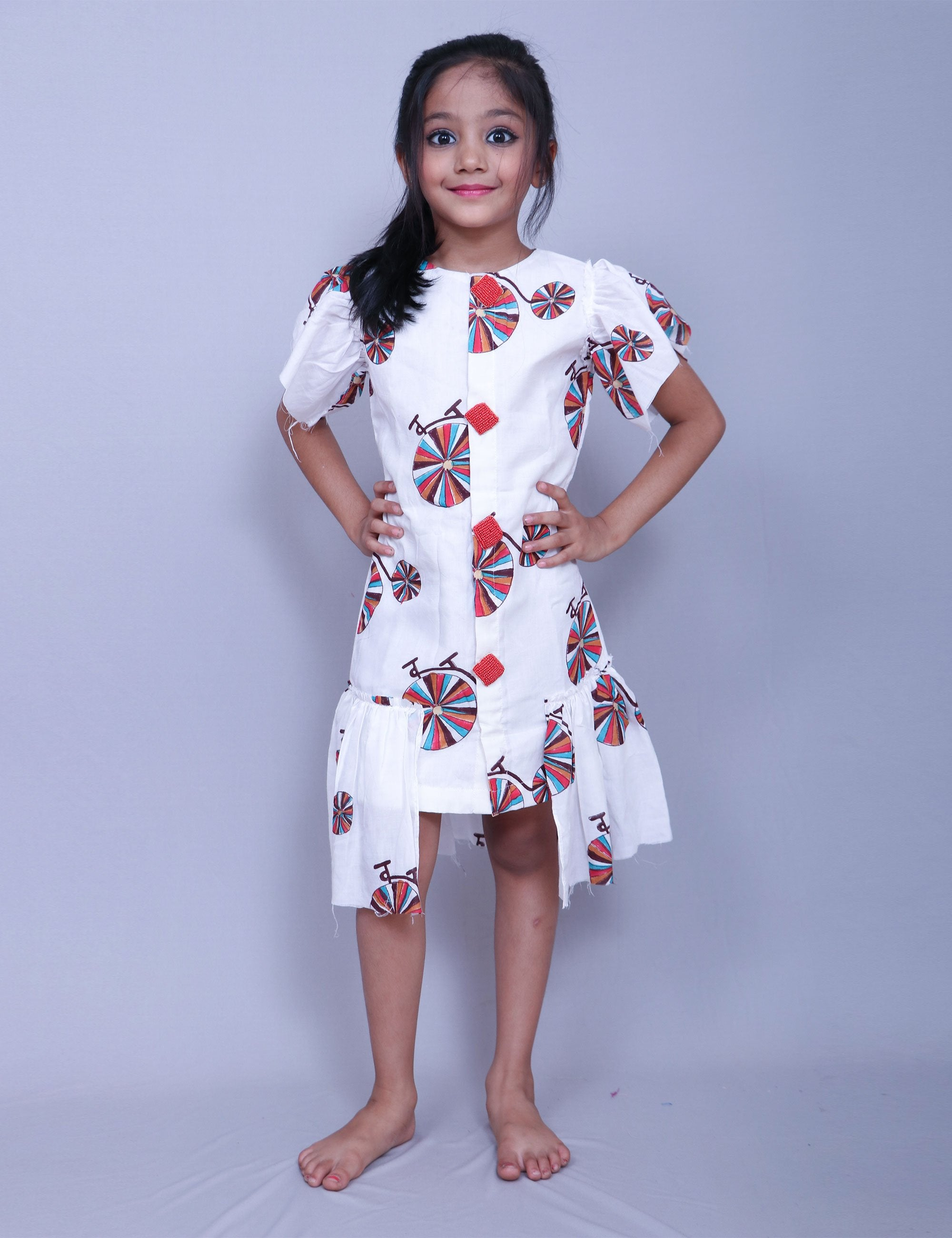 5455c78435 Buy Hand Block Cycle Print Frock for Girls at best Price - Mini Firgun