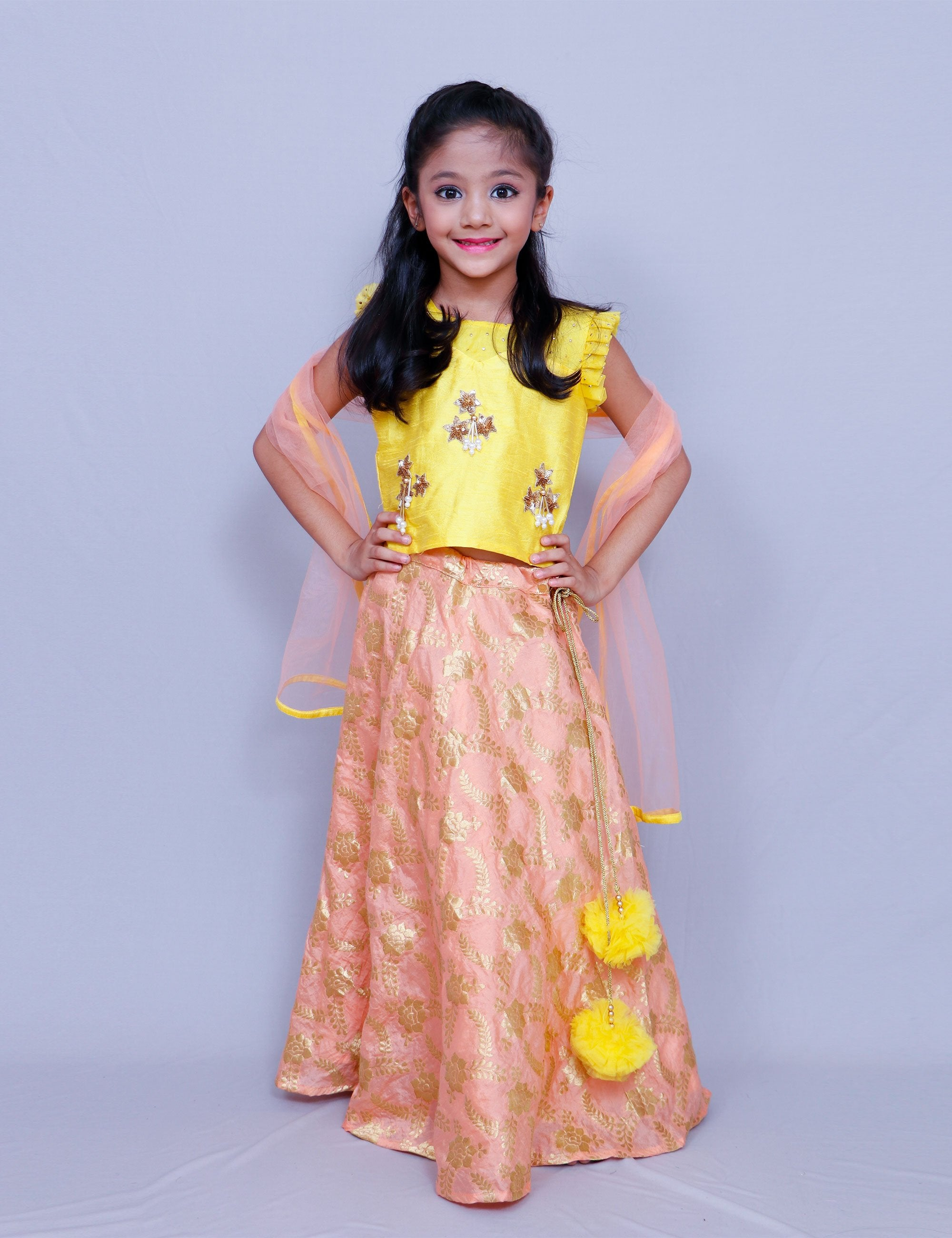 Yellow Crop Top with Lehenga for Girls