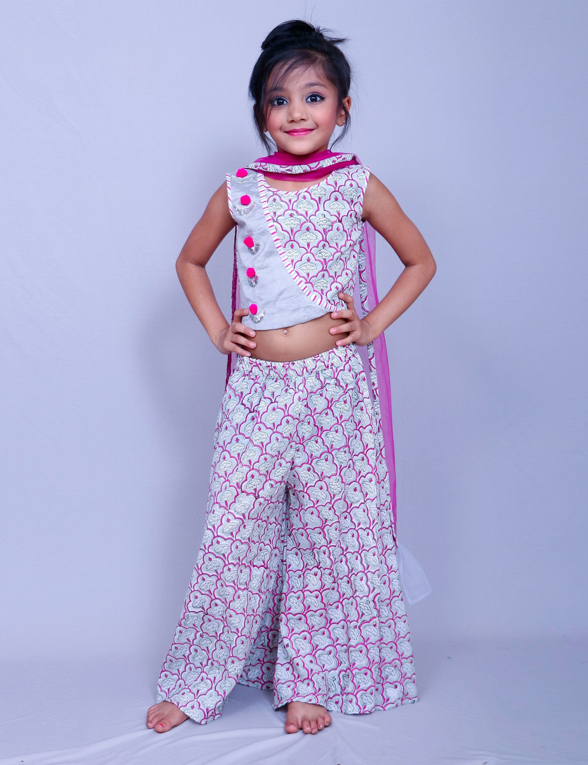 Crop Top with Printed Palazzo for Girls