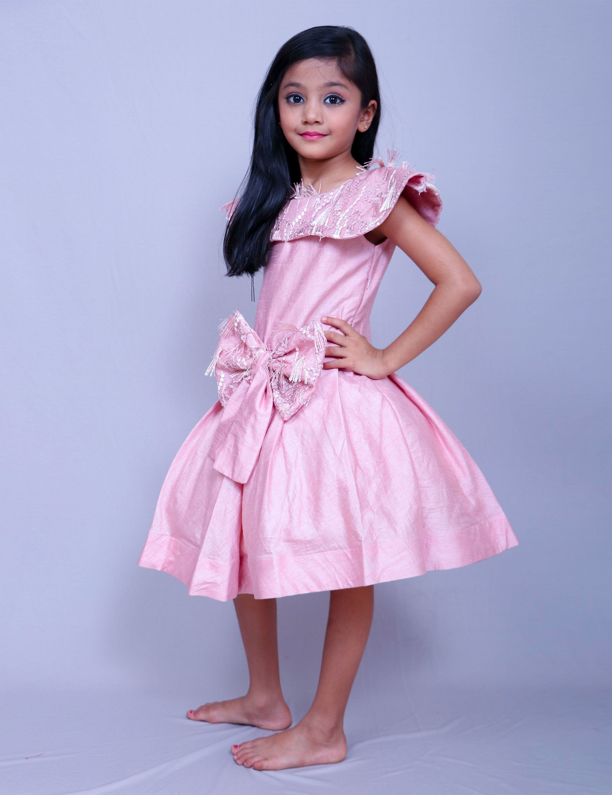 Pleated Frock with Embroidered Fringes for Girls