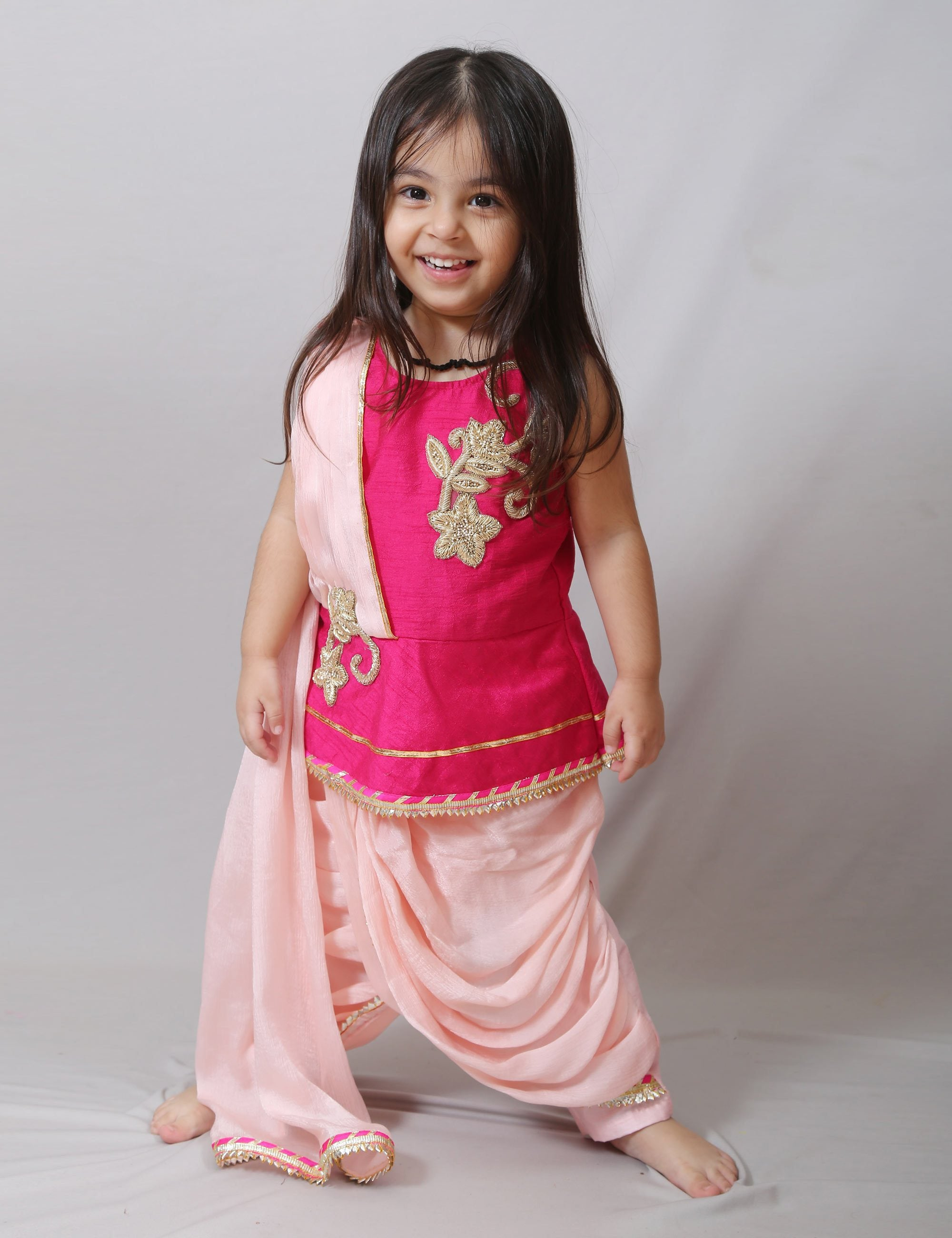 Pink Peplum Top With Dhoti for Girls