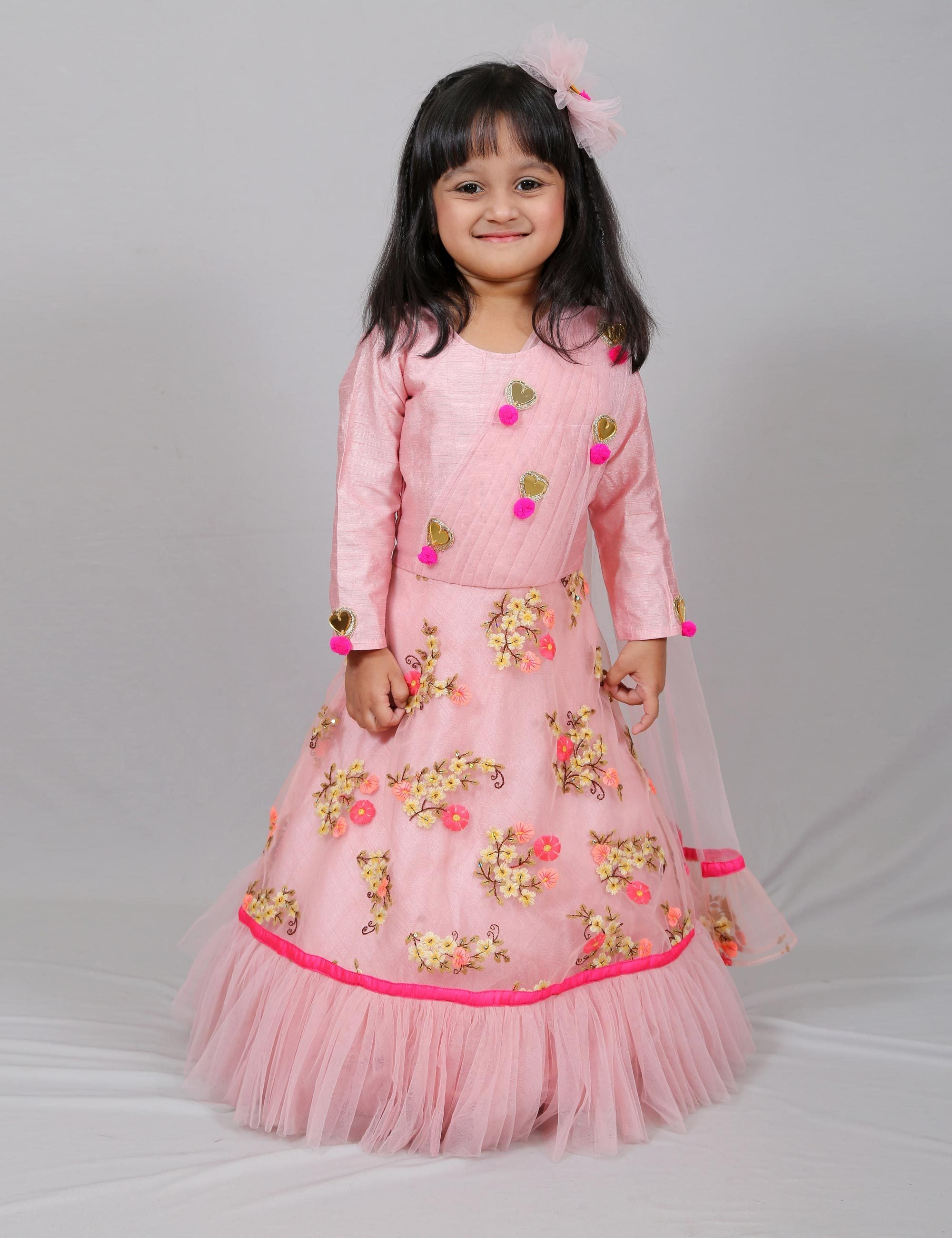 Embroidered Net Long Gown with Attached Duppatta for Girls