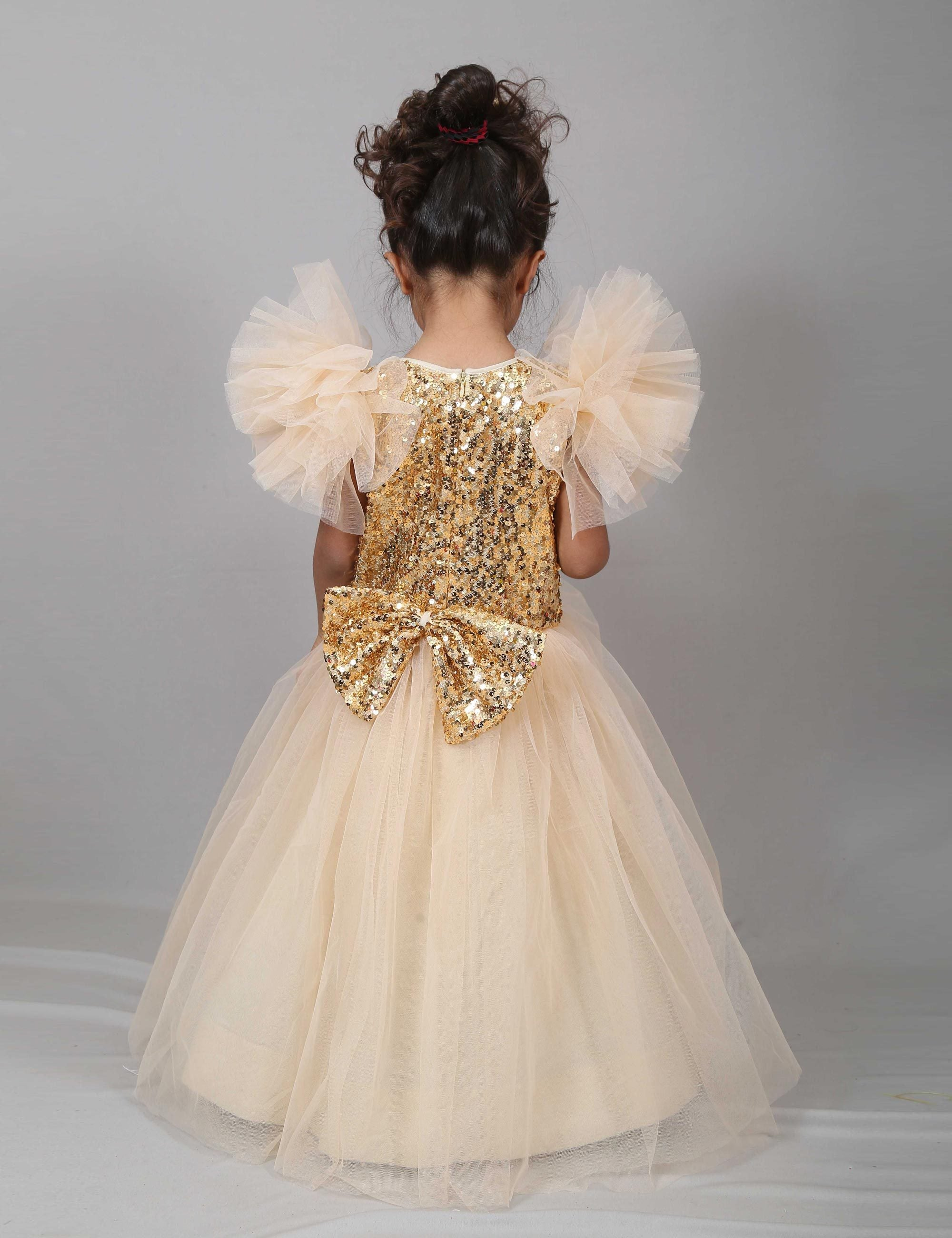 Golden Crush Sequinned Gown for Girls