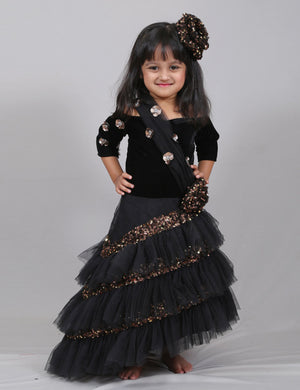 Black Velvet and Ruffle Gown for Girls