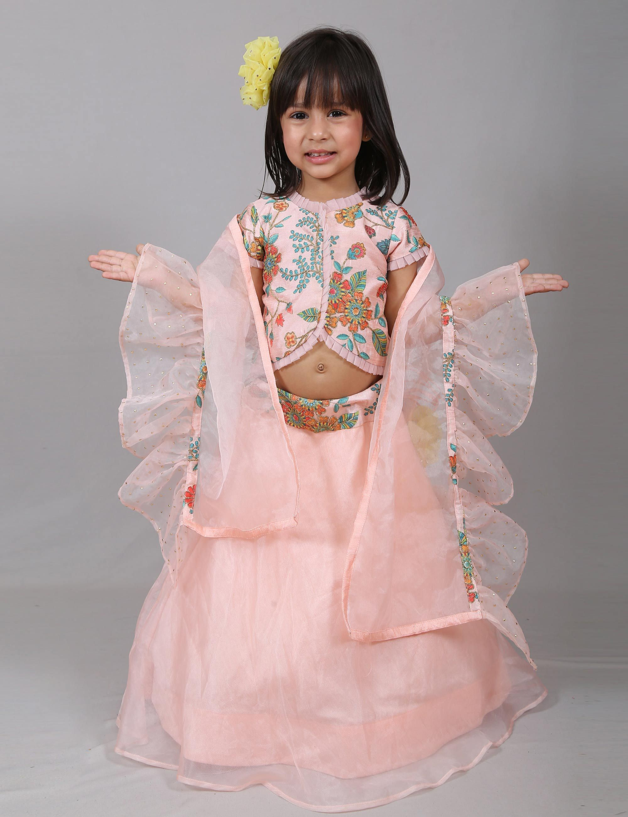 Floral Pink Ghaghara for Girls