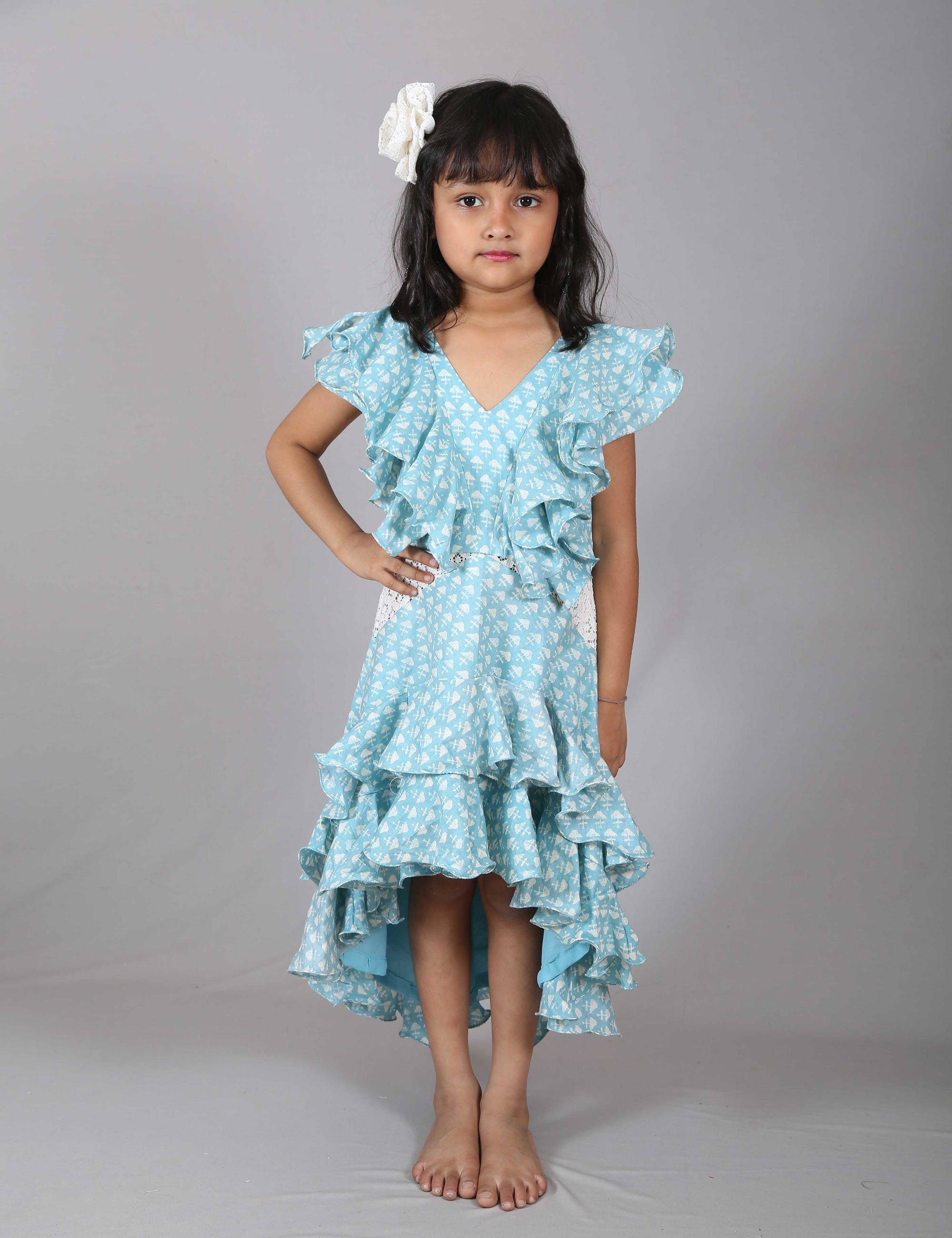 Ruffle Halter Neck Frock for Girls
