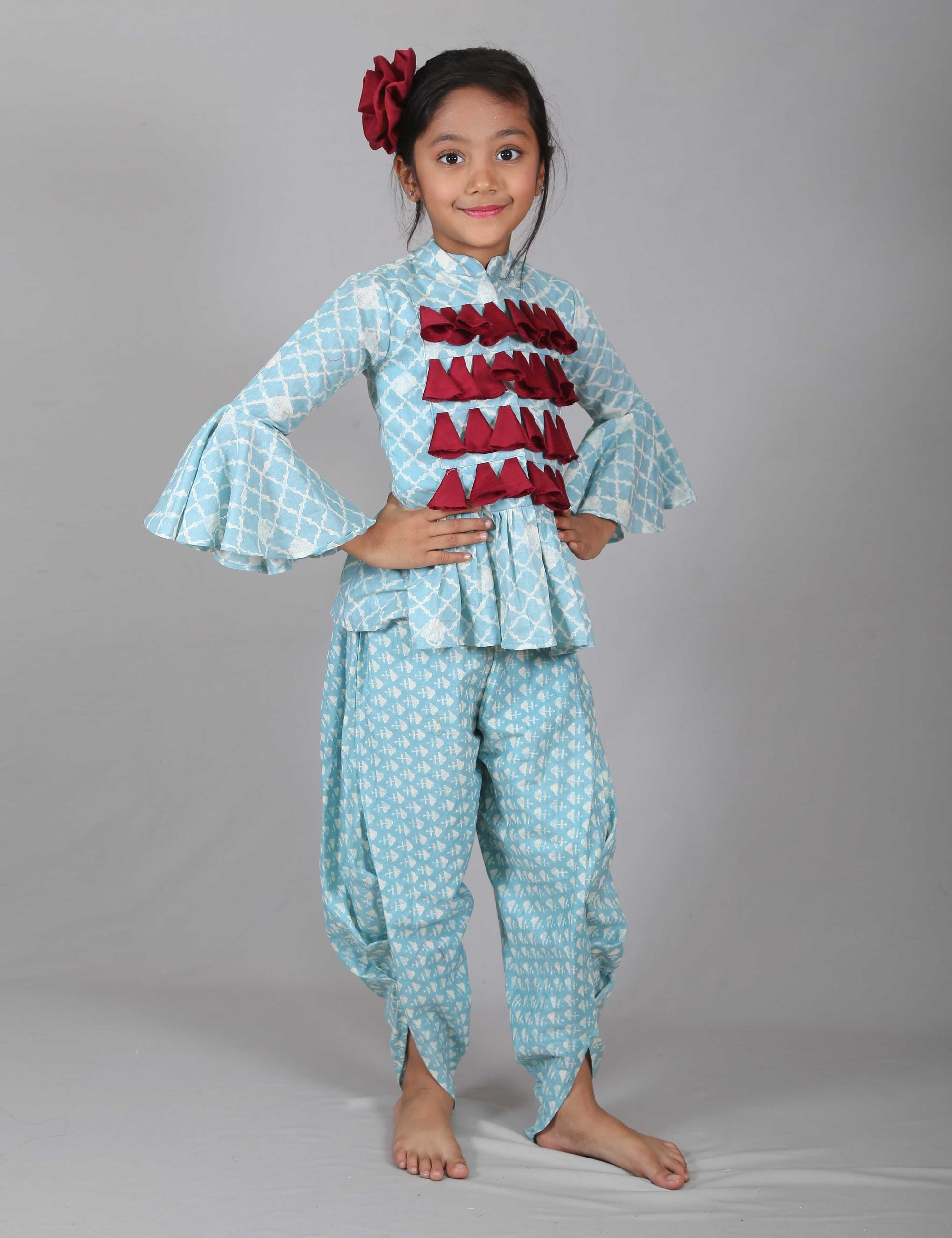 Frill Sleeves Peplum Top with Dhoti for Girls