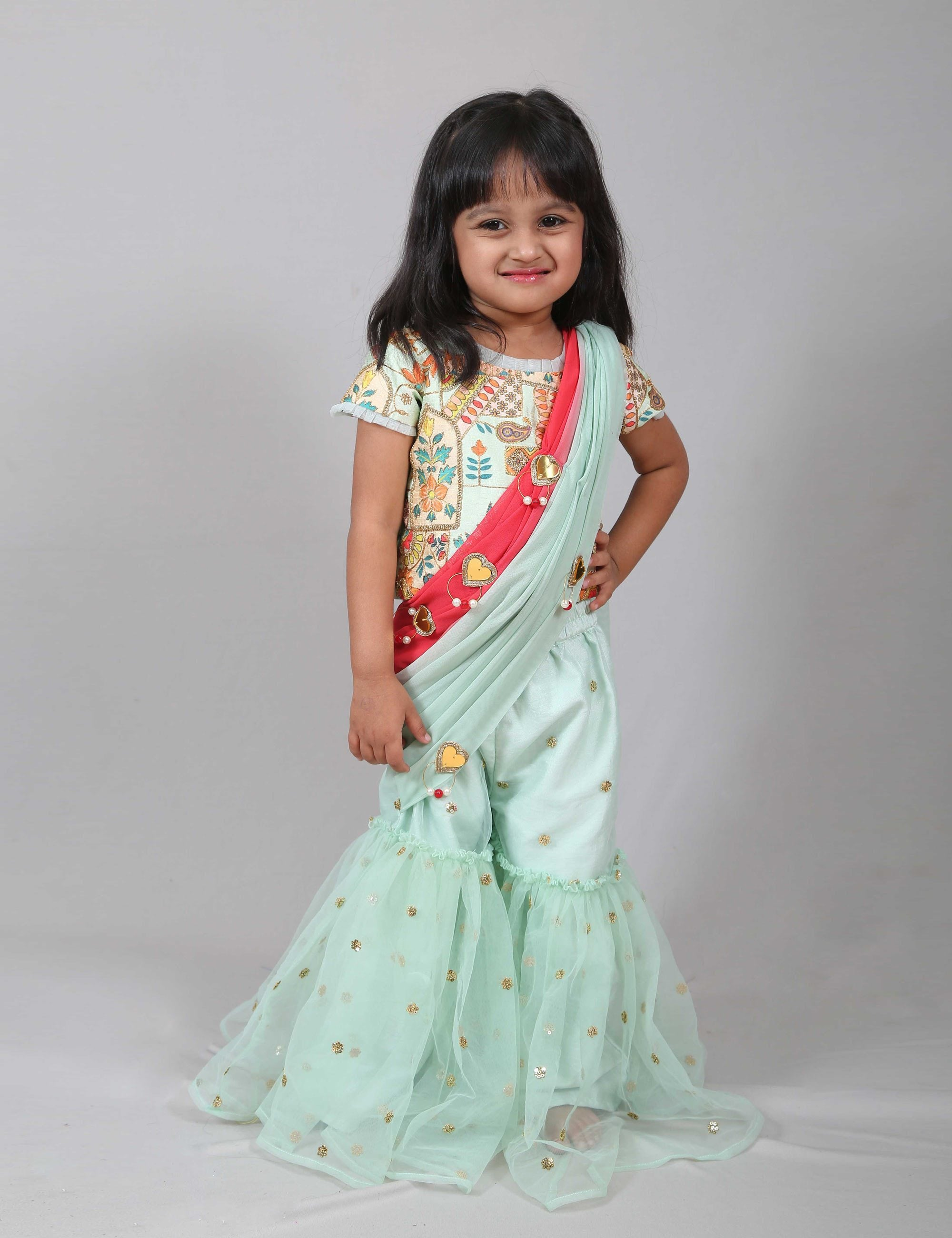 Blue Embroidered Sharara for Girls