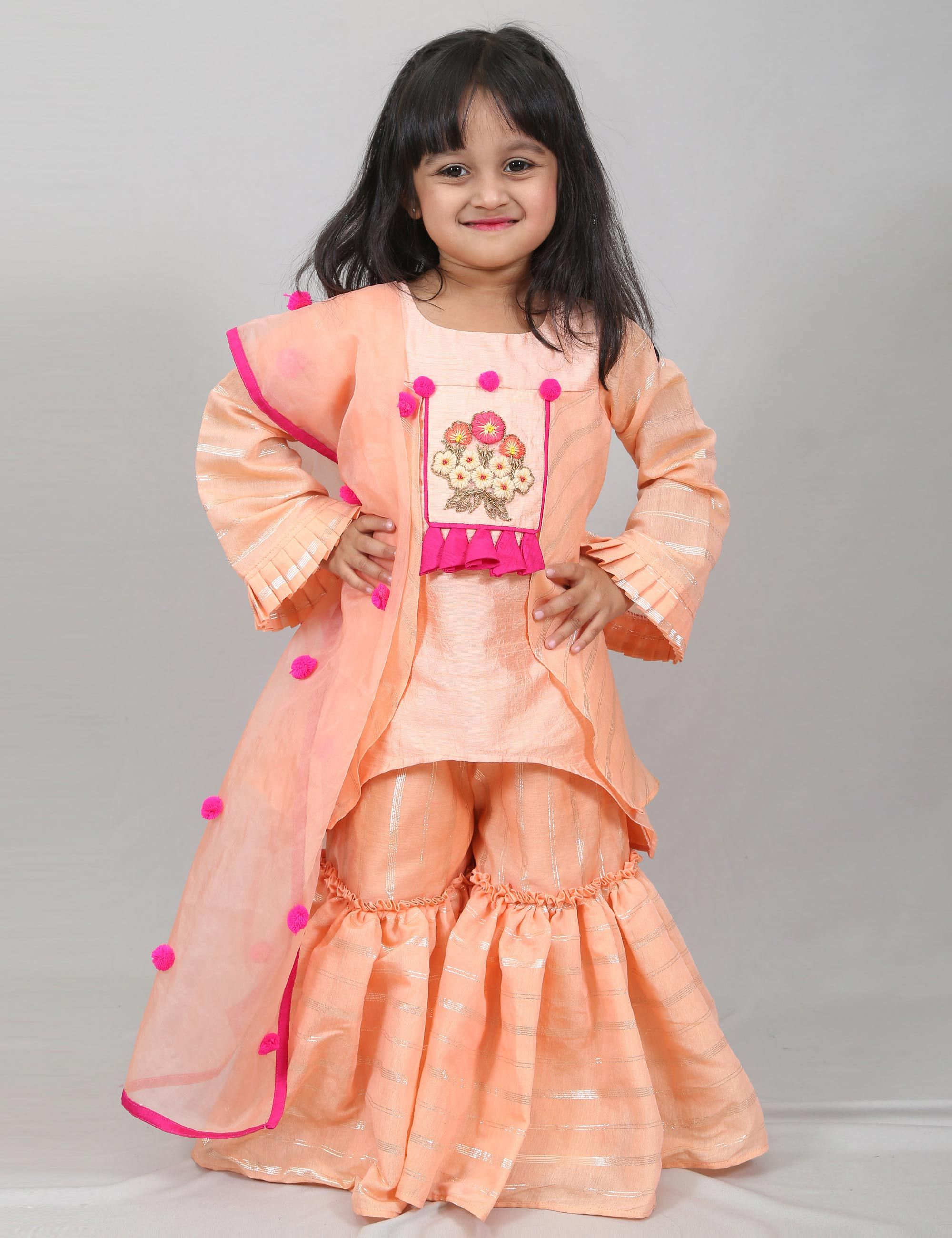 Peach Sharara with Long Kurti for Girls