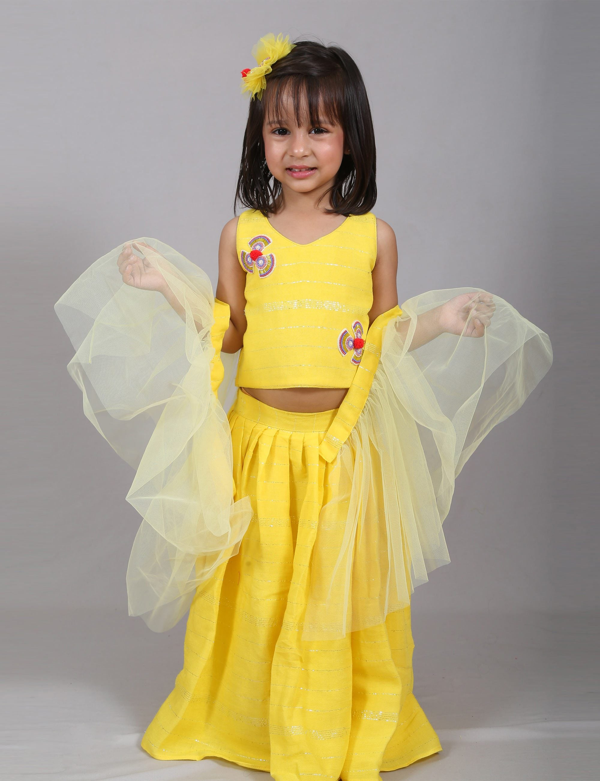 Yellow Pleated Skirt with Crop Top for Girls