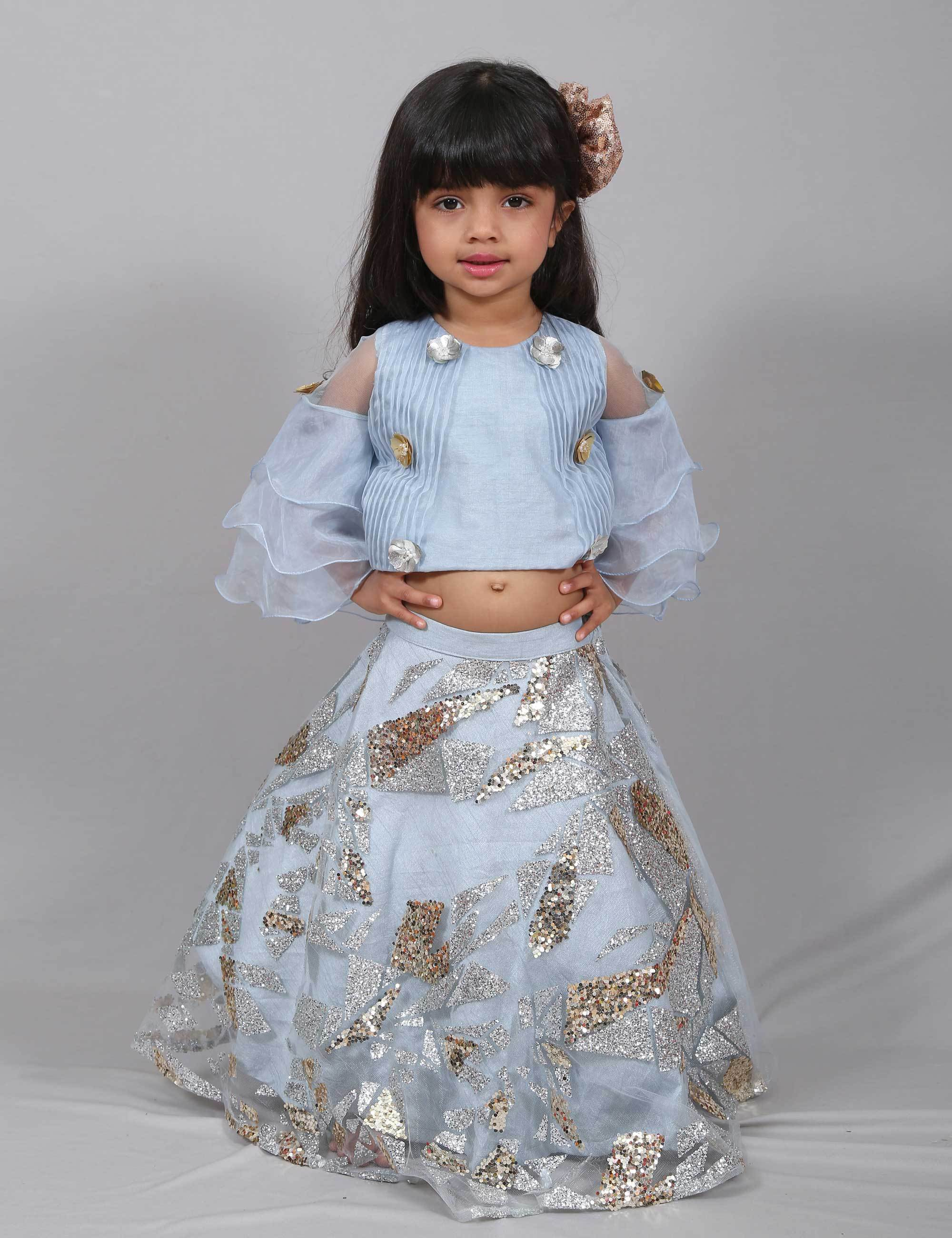 Ruffled Glitter Ghagra for Girls