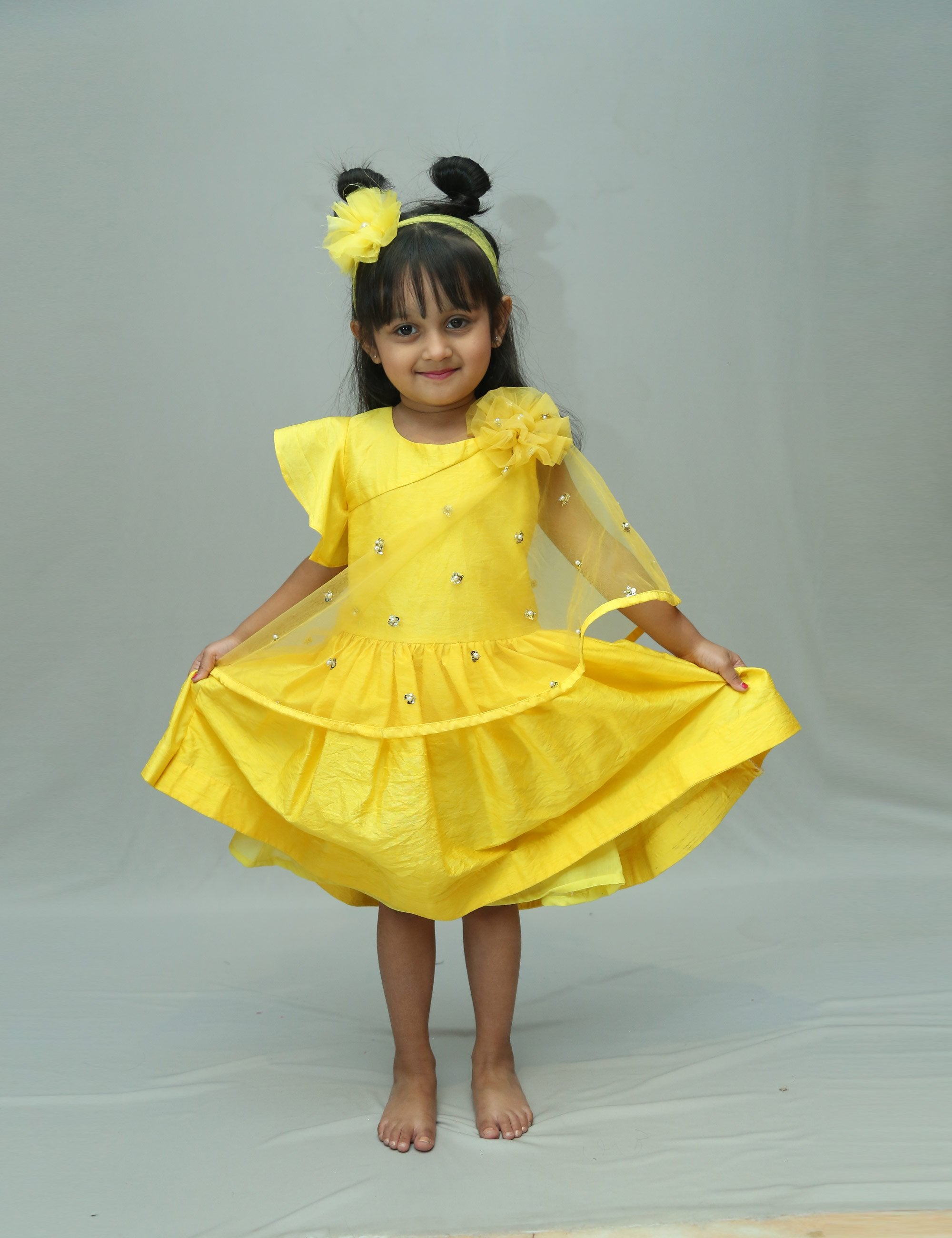 Fit and Flary Wing Yellow Dress