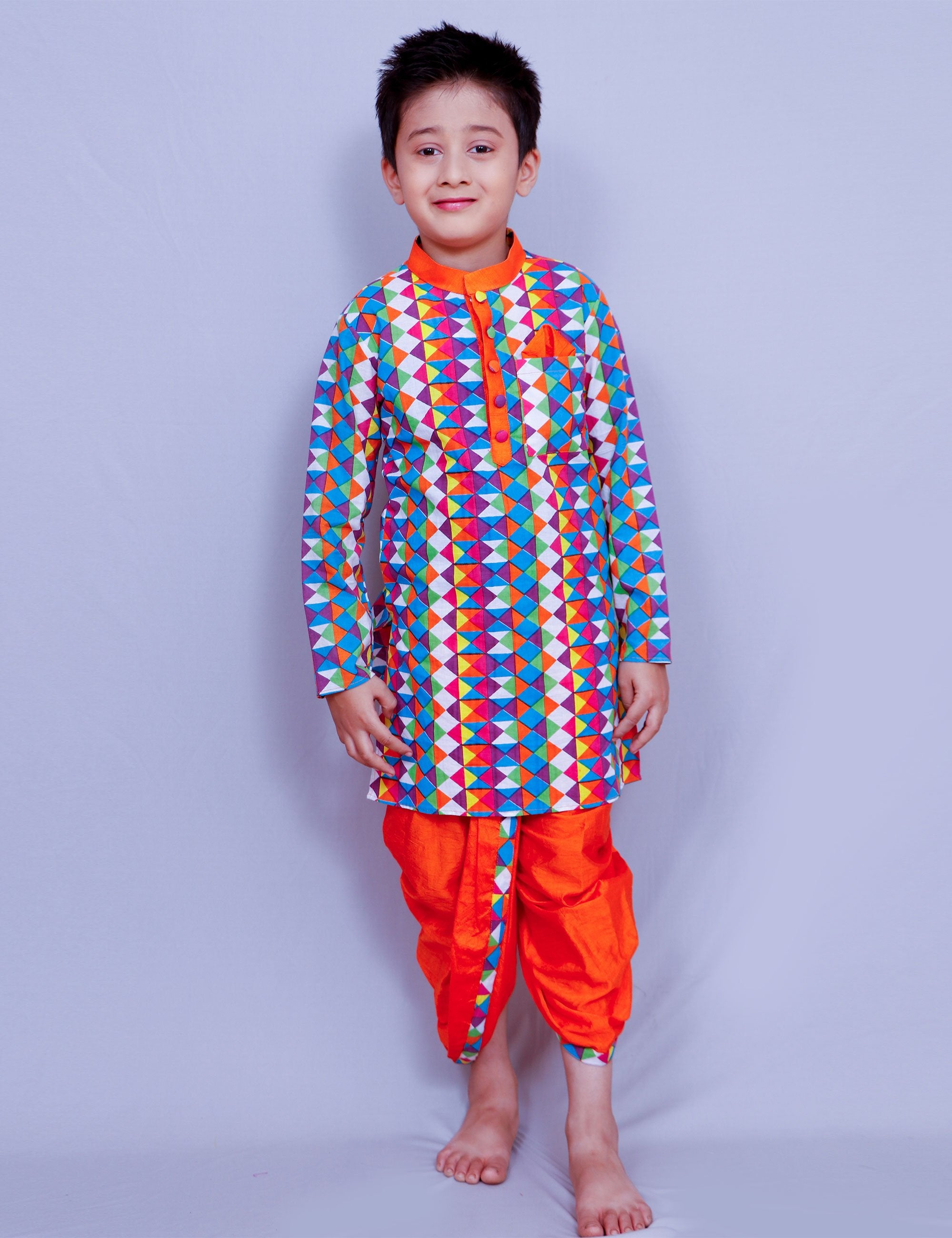 Multicolor Printed Long Kurti  with Dhoti