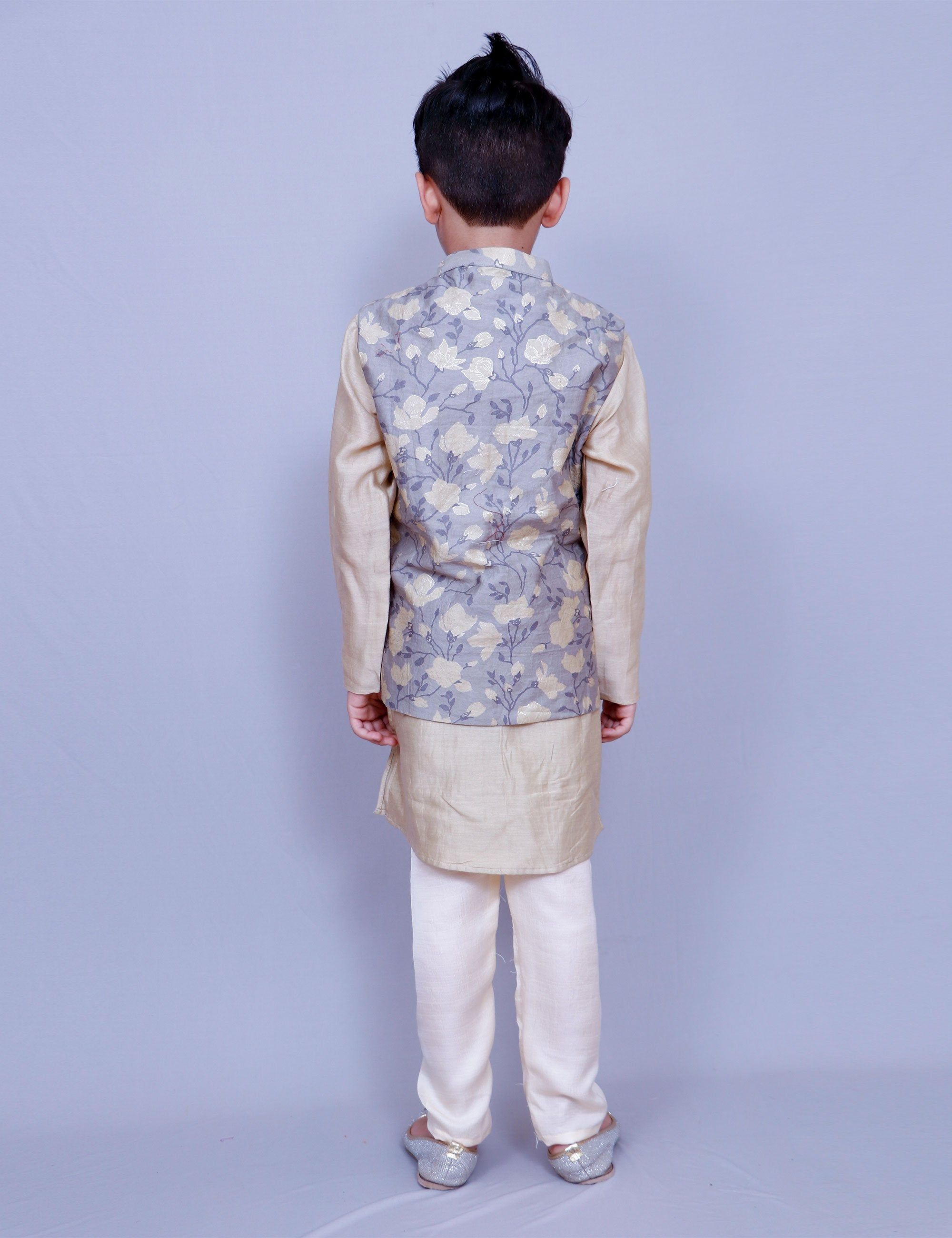 Chanderi Silk Printed Jacket Set for Boys