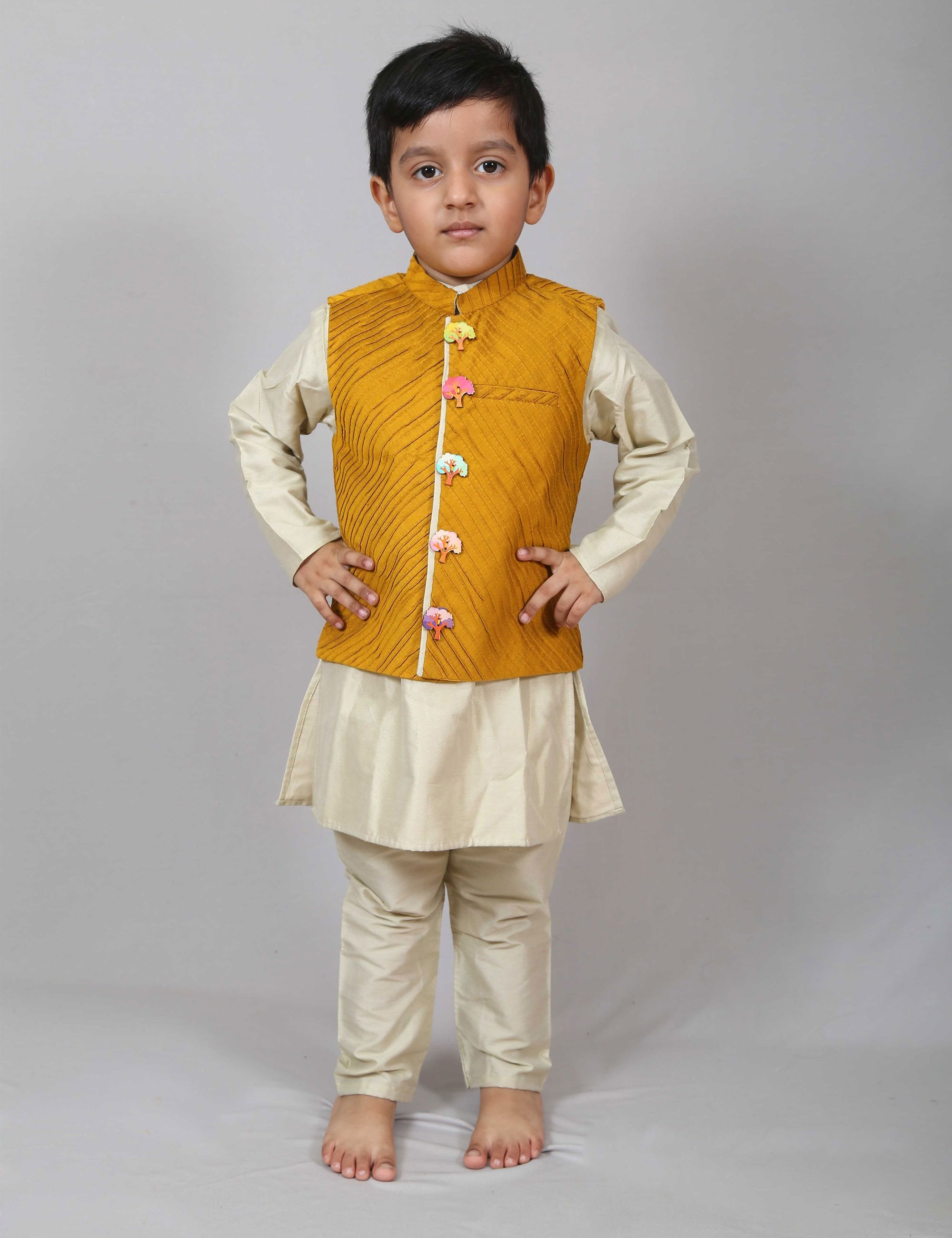 Majestic Yellow Kurta Jacket Set for Boys