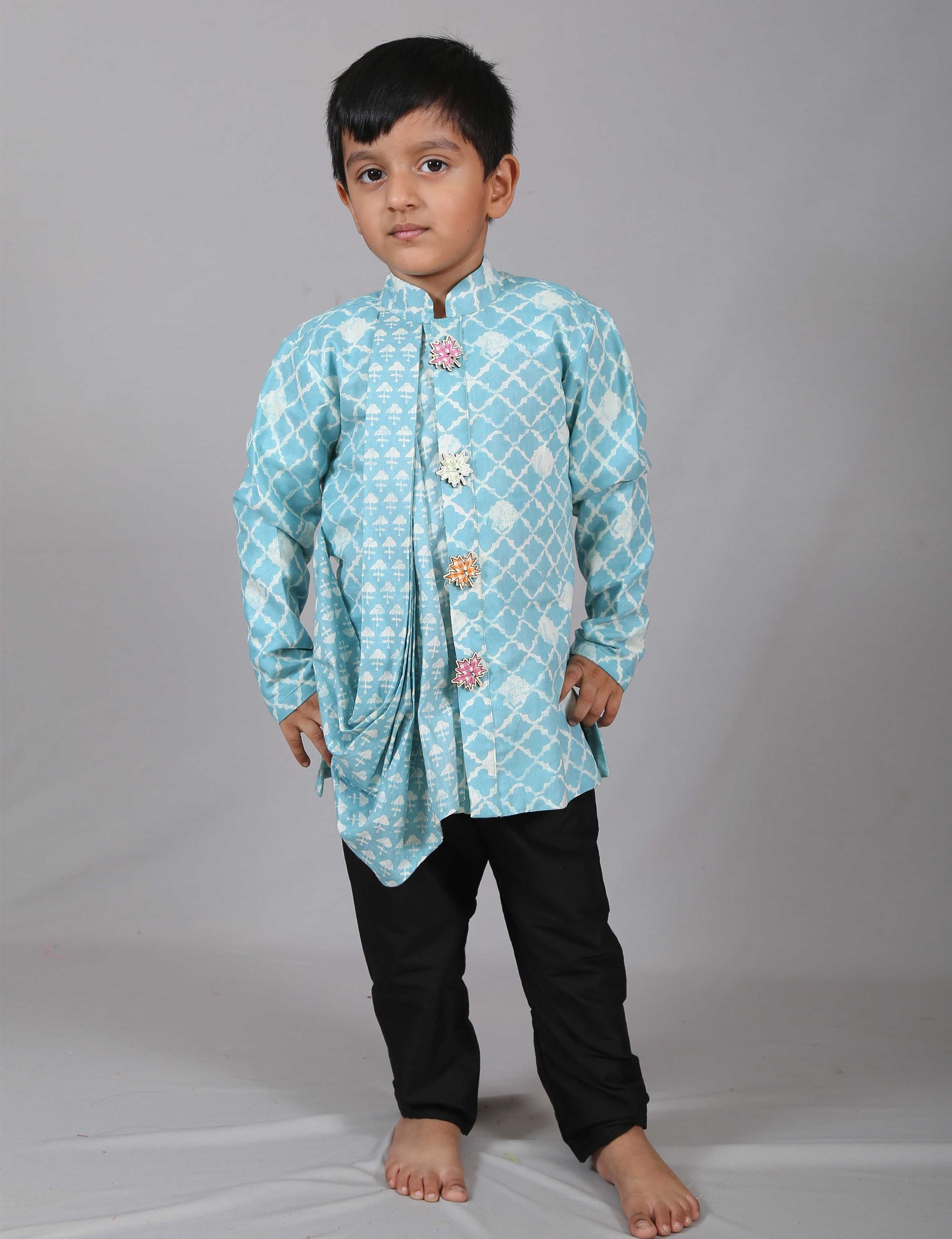 Blue Printed Cowl Kurta with Black Pant for Boys
